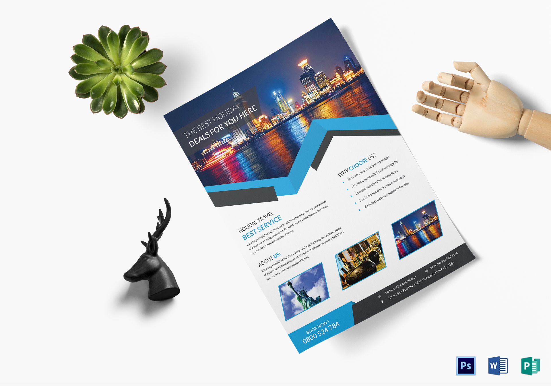 Clean Travel Flyer Design Template in Word, PSD, Publisher