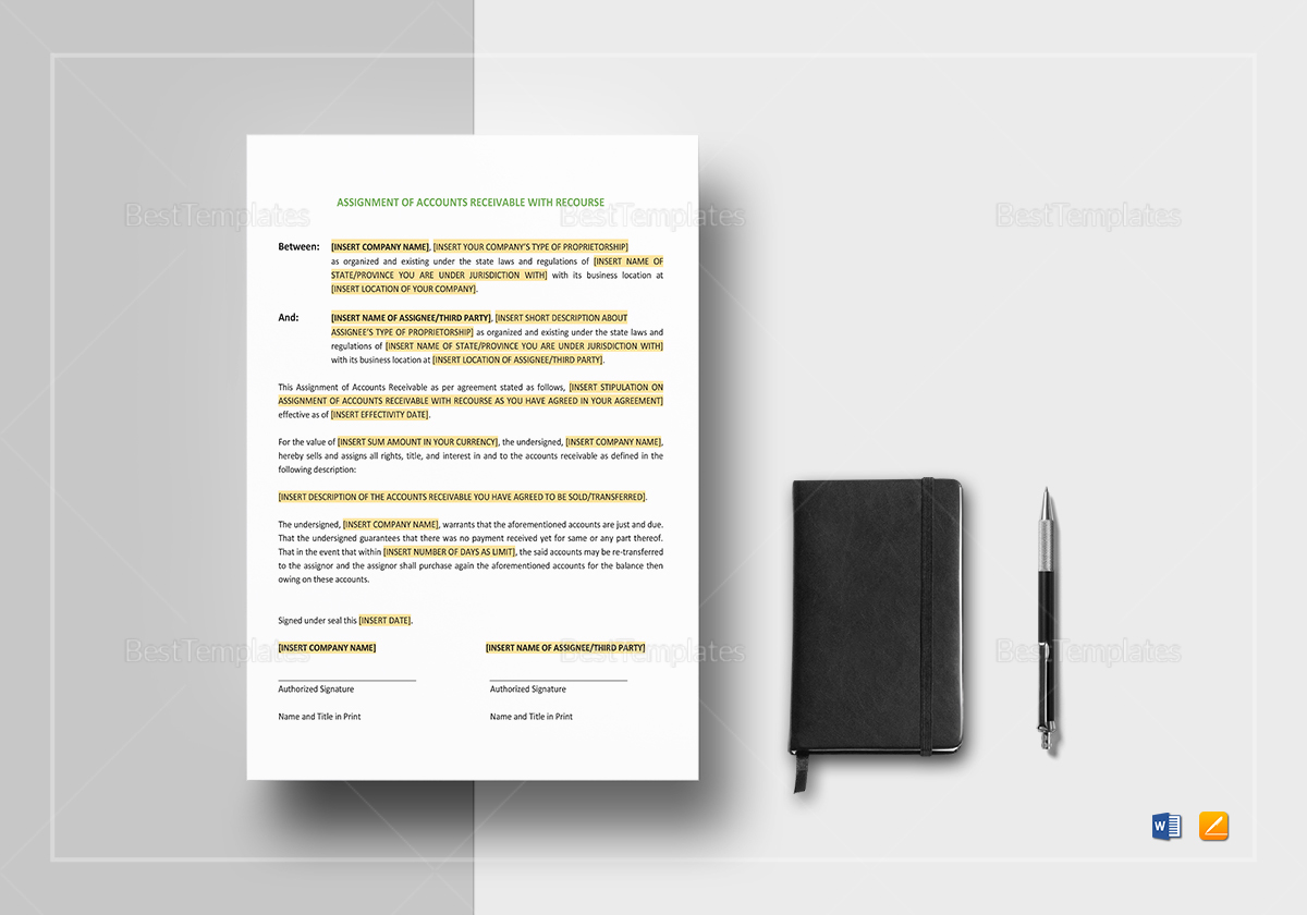 Assignment of Accounts Receivable with Recourse Template
