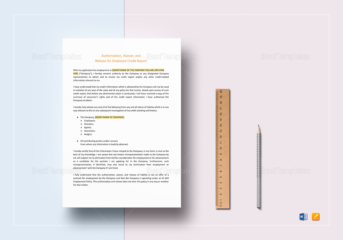 Sample Authorization, Waiver and Release for Employee Credit Report Template