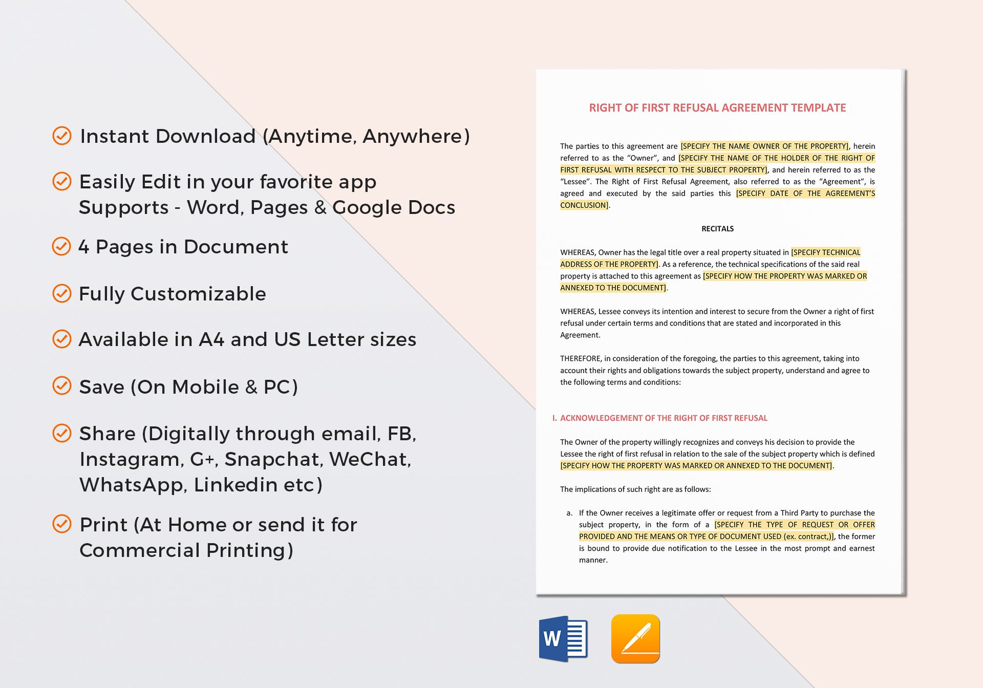 Right Of First Refusal Agreement Template In Word Google Docs