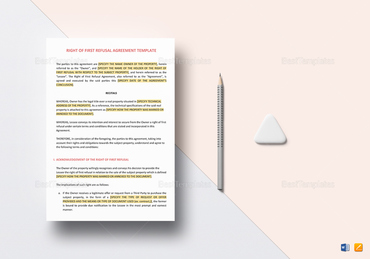 Right of First Refusal Agreement Template to Edit