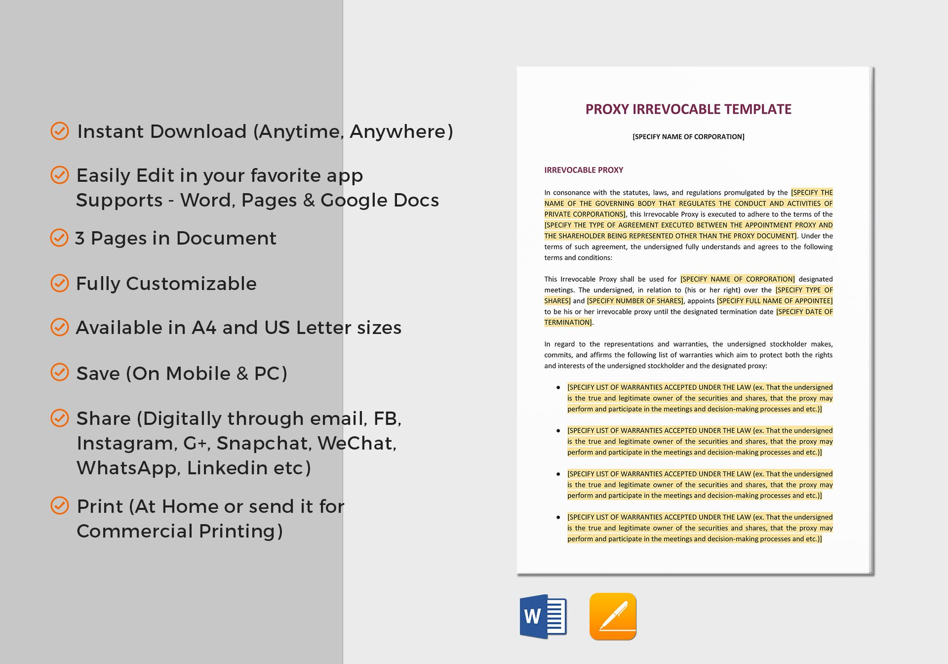 Proxy Irrevocable Template In Word Google Docs Apple Pages