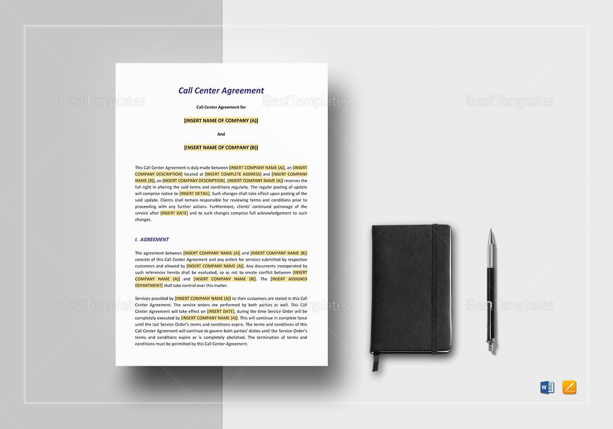 Call Center Agreement Template