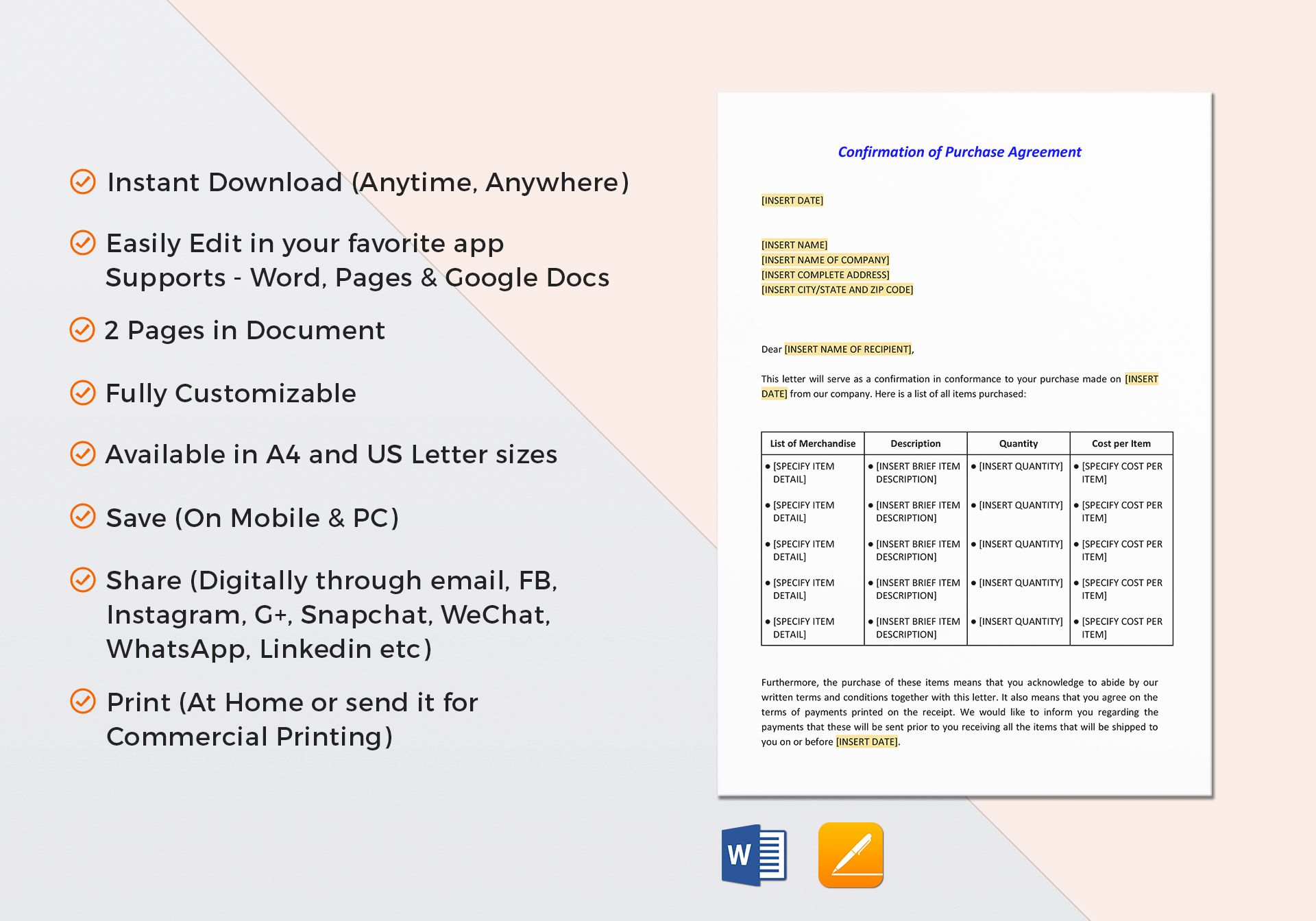 Confirmation Of Purchase Agreement Letter Template In Word Google