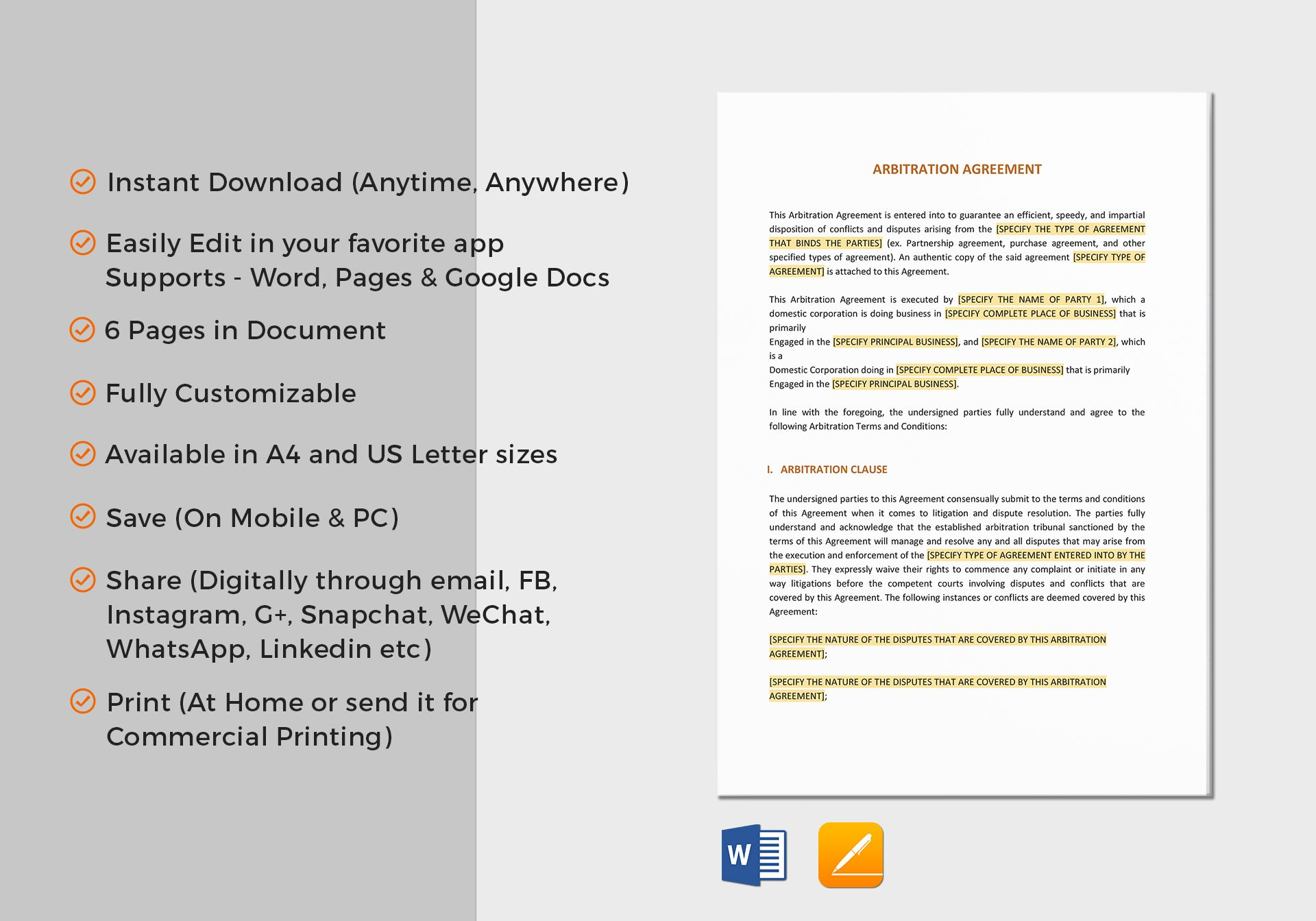 Arbitration Agreement Template in Word, Google Docs, Apple Pages