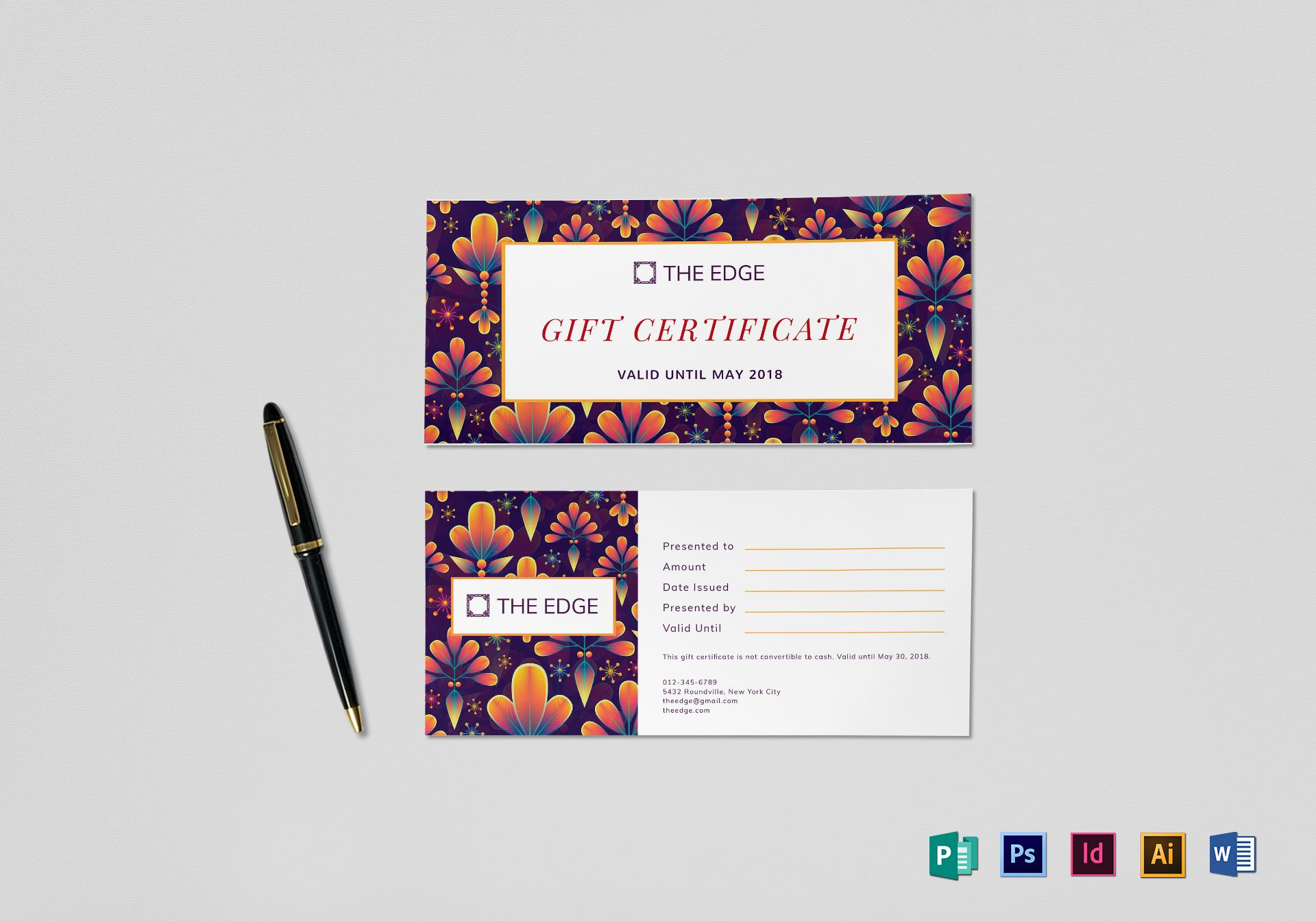 Gift Certificate Design Template In Psd Word Publisher
