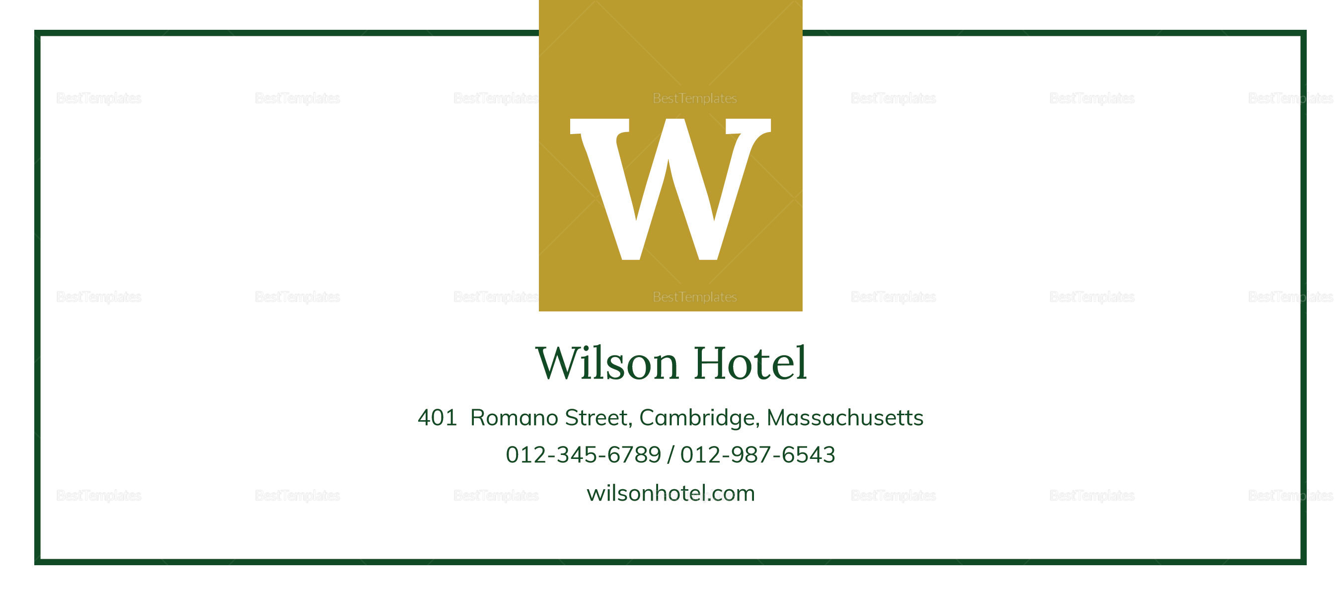 Sample Hotel Gift Certificate Template