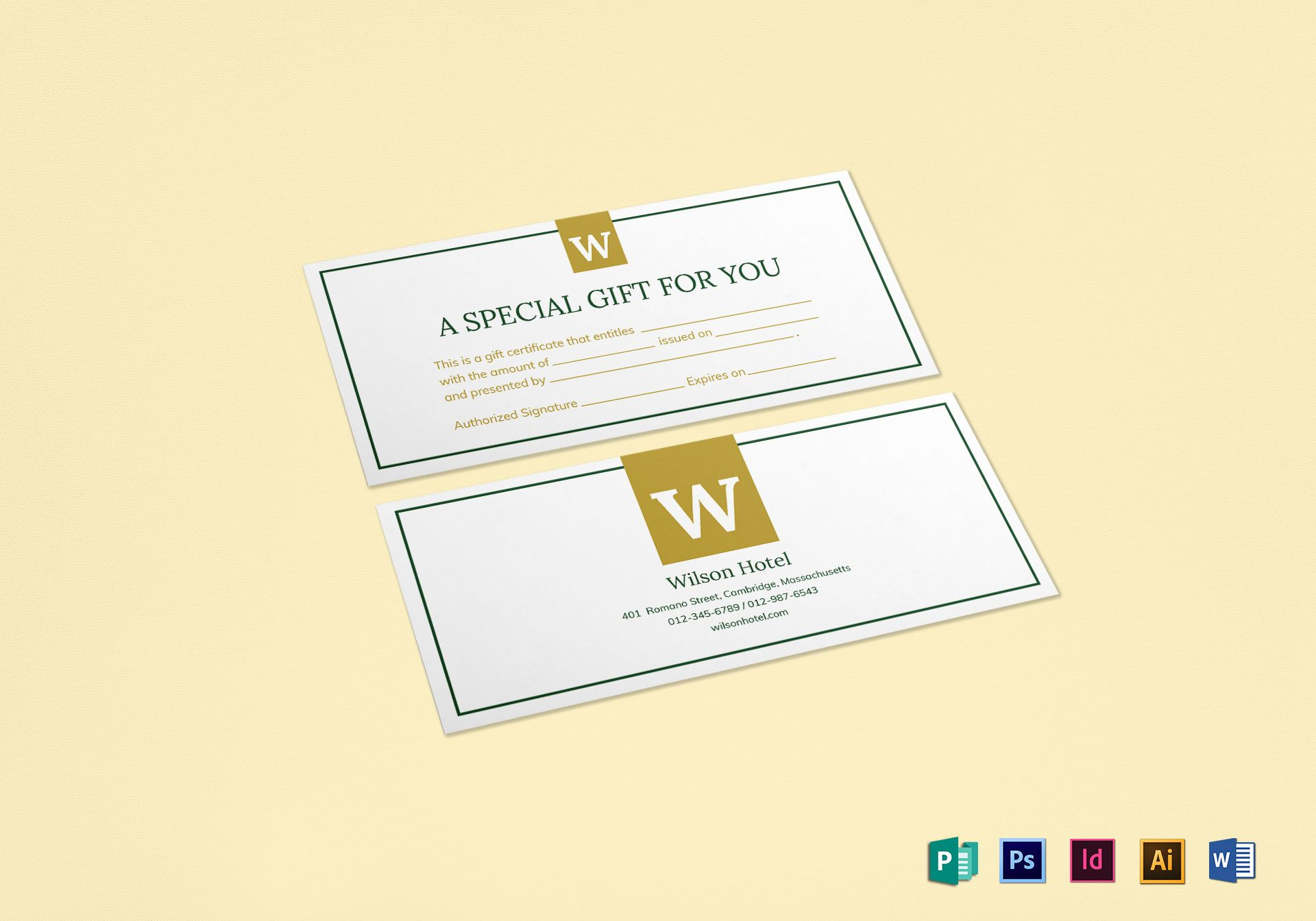 hotel gift certificate design template in psd word publisher