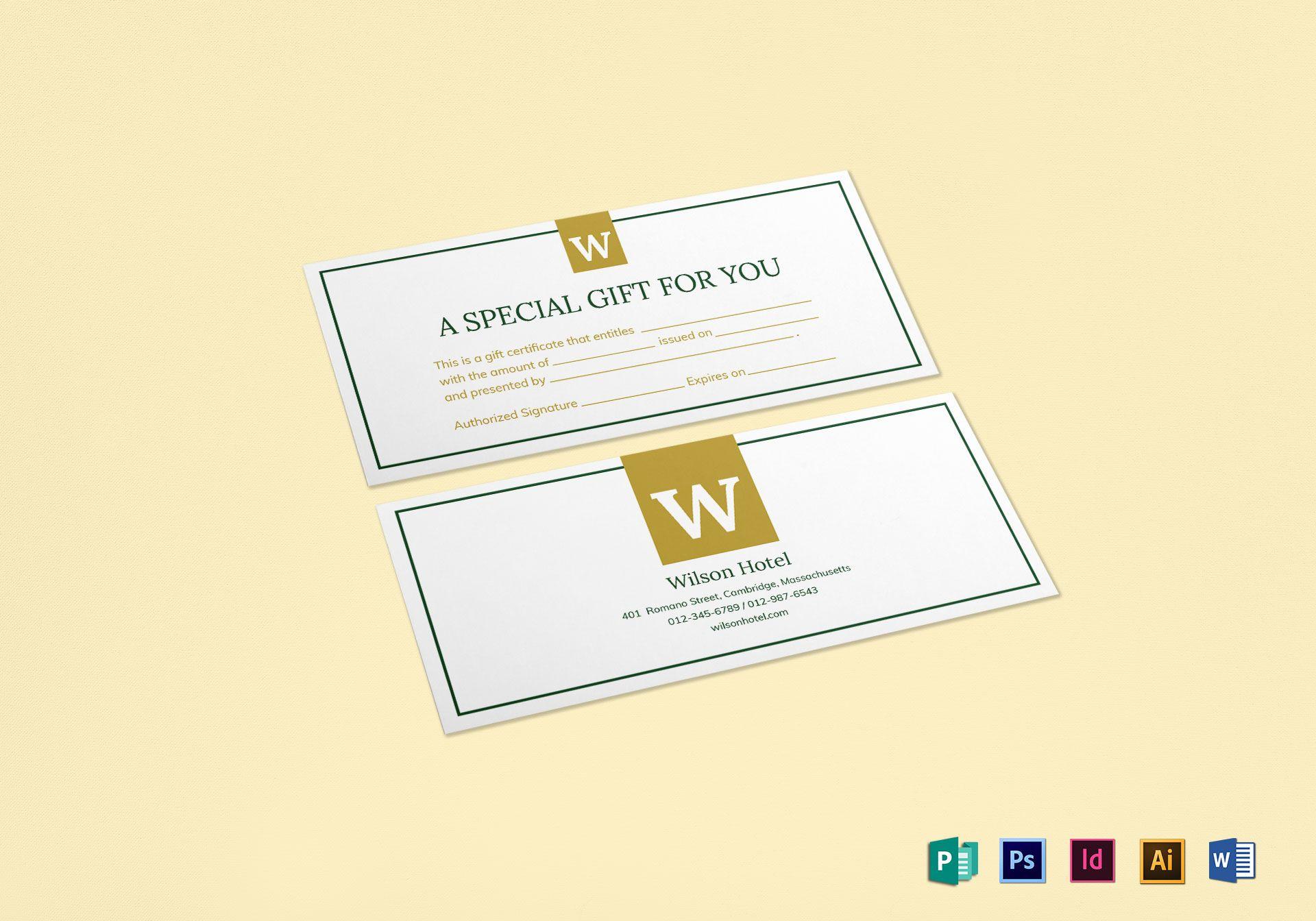 Hotel gift certificate design template in psd word publisher hotel gift certificate template yadclub Gallery