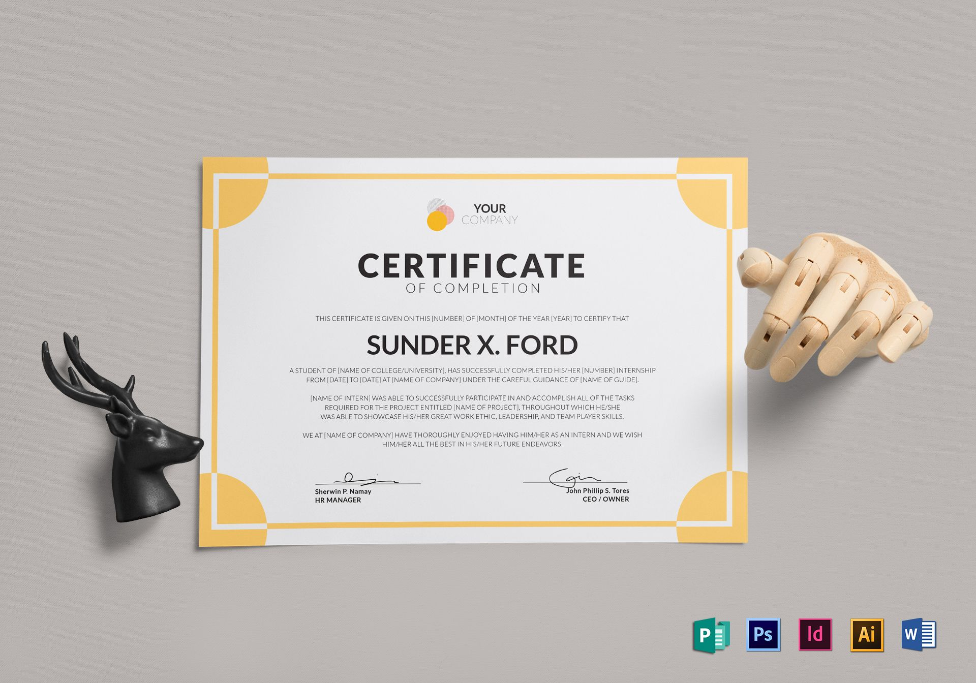 internship certificate of completion design template in psd word