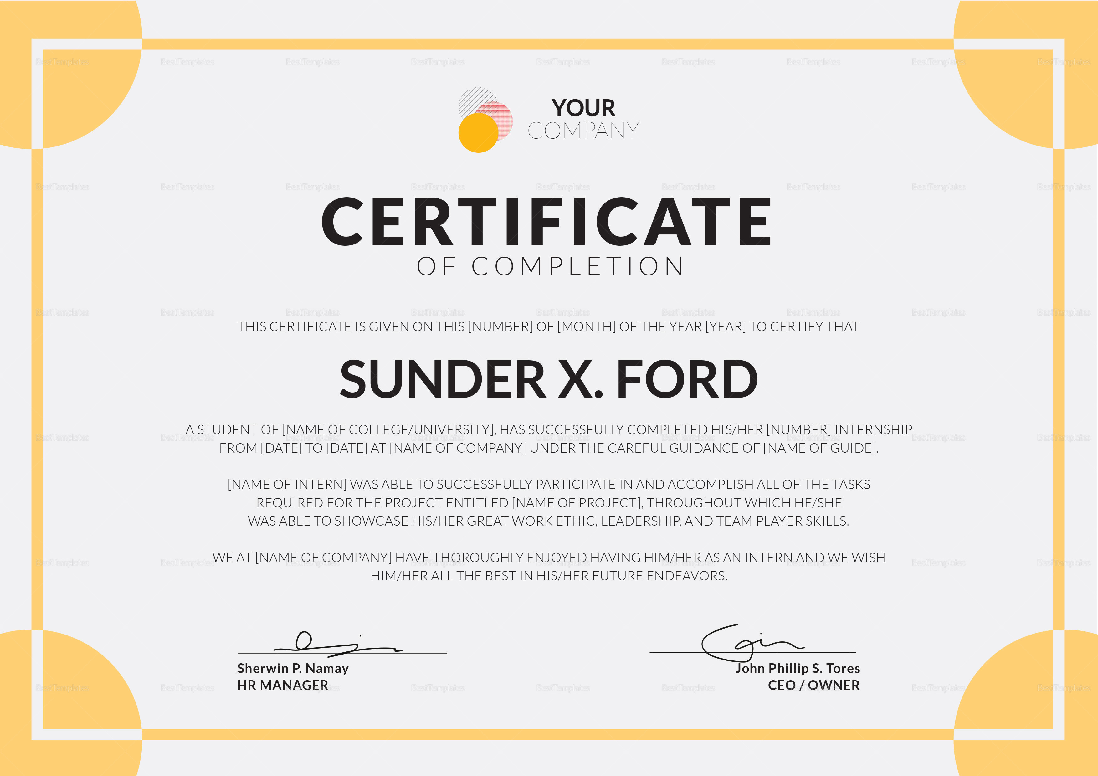 Internship certificate of completion design template in psd word internship certificate of completion template internship certificate of completion template yadclub Choice Image
