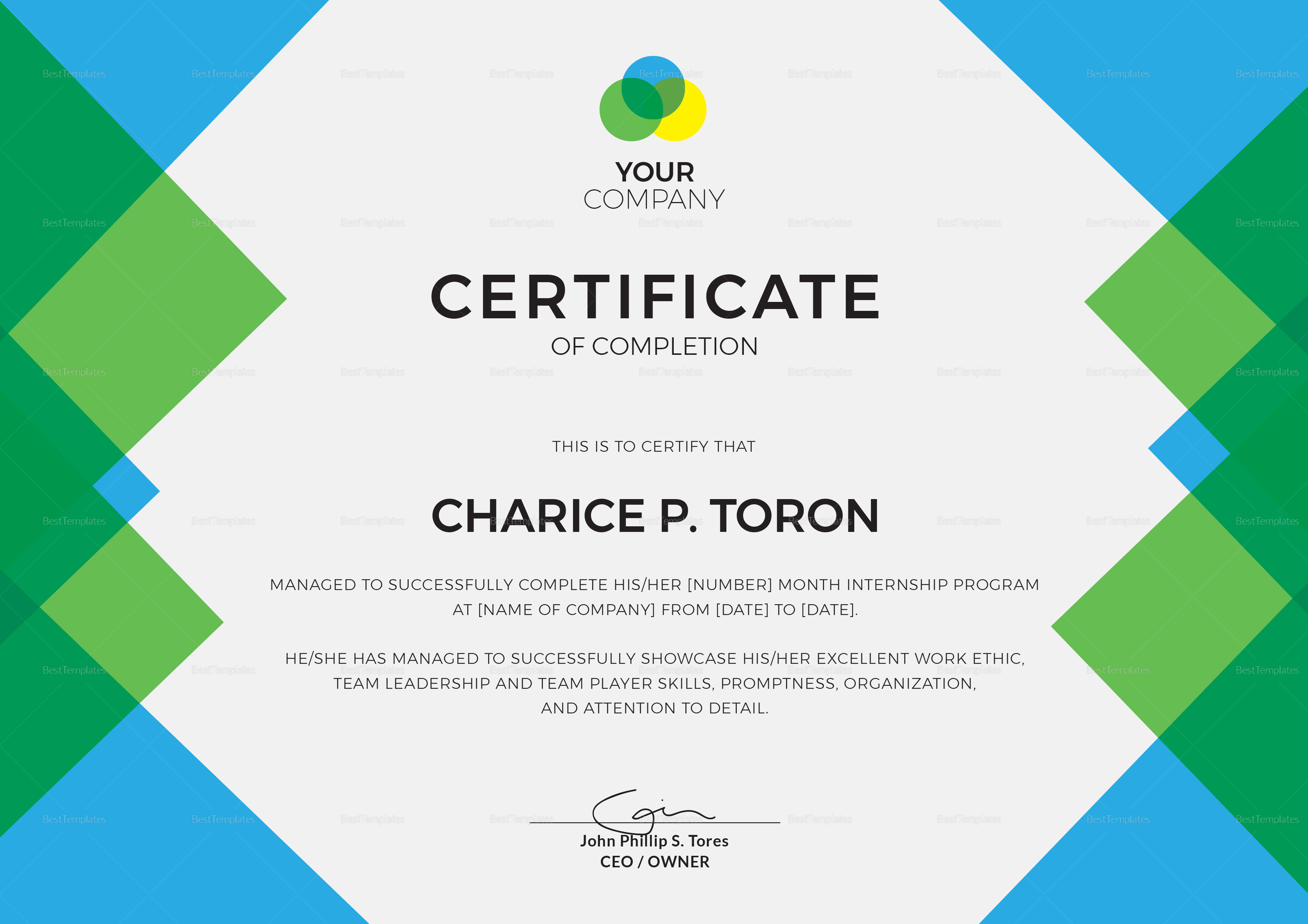 Free internship certificate sample images decision flow chart template sample internship completion certificate from company choice image internship certificate from company28129 yadclub Images