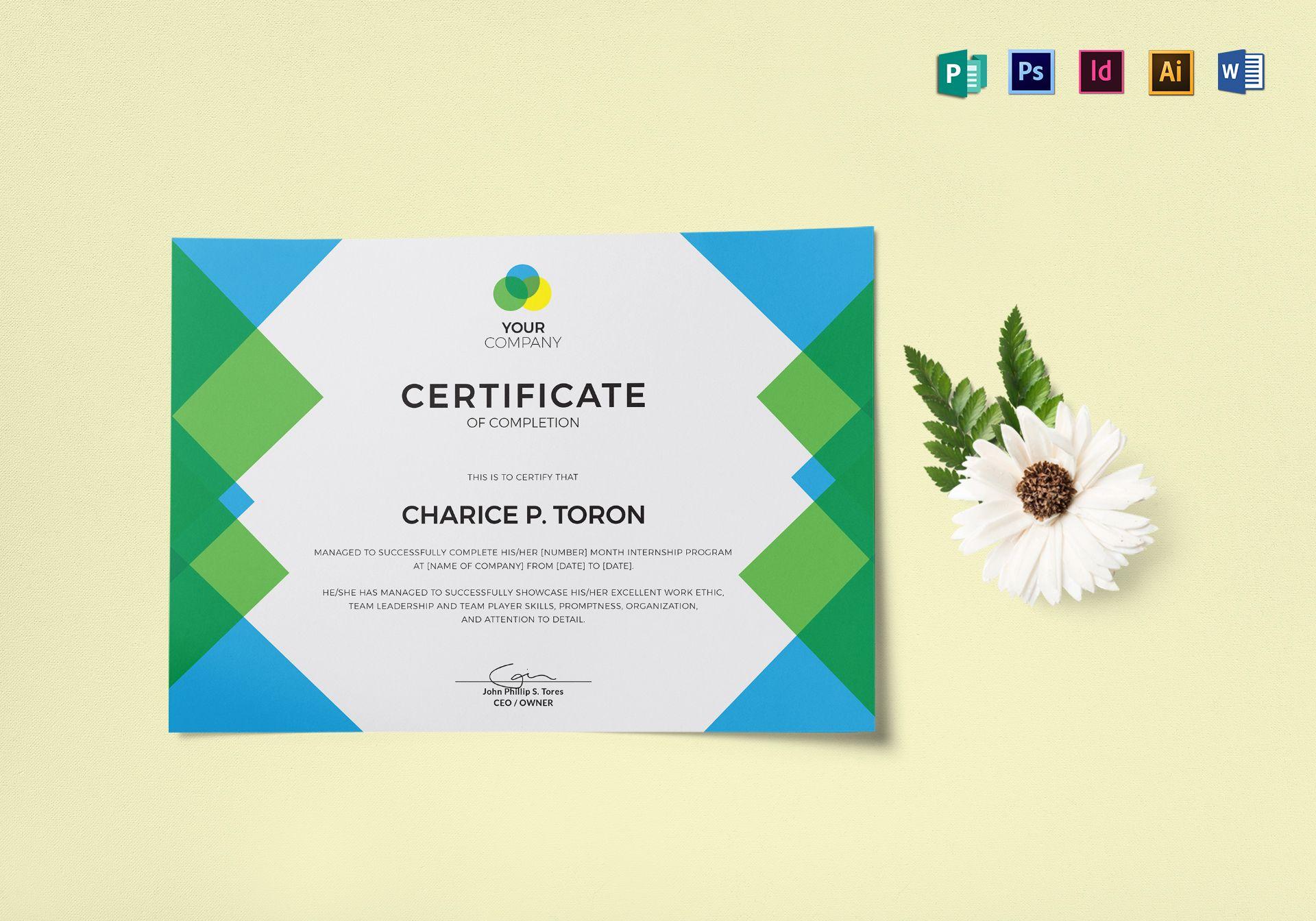 Company Internship Certificate Design Template In Psd Word
