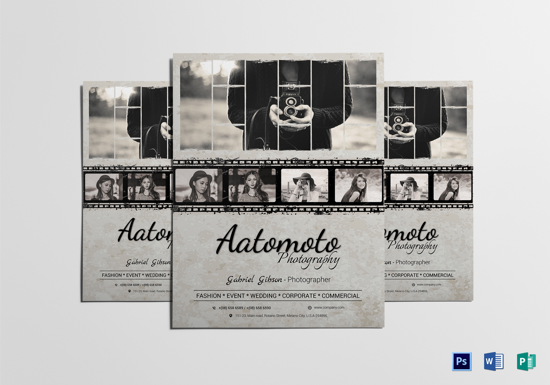 Fashion Photographer Flyer Template Design Template in Word, PSD ...