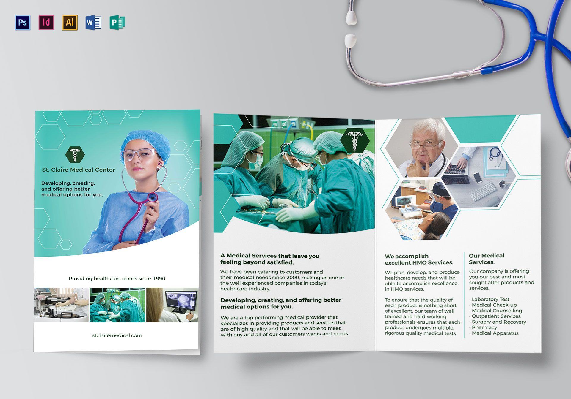 Medical bi fold brochure design template in psd word for Free medical brochure templates