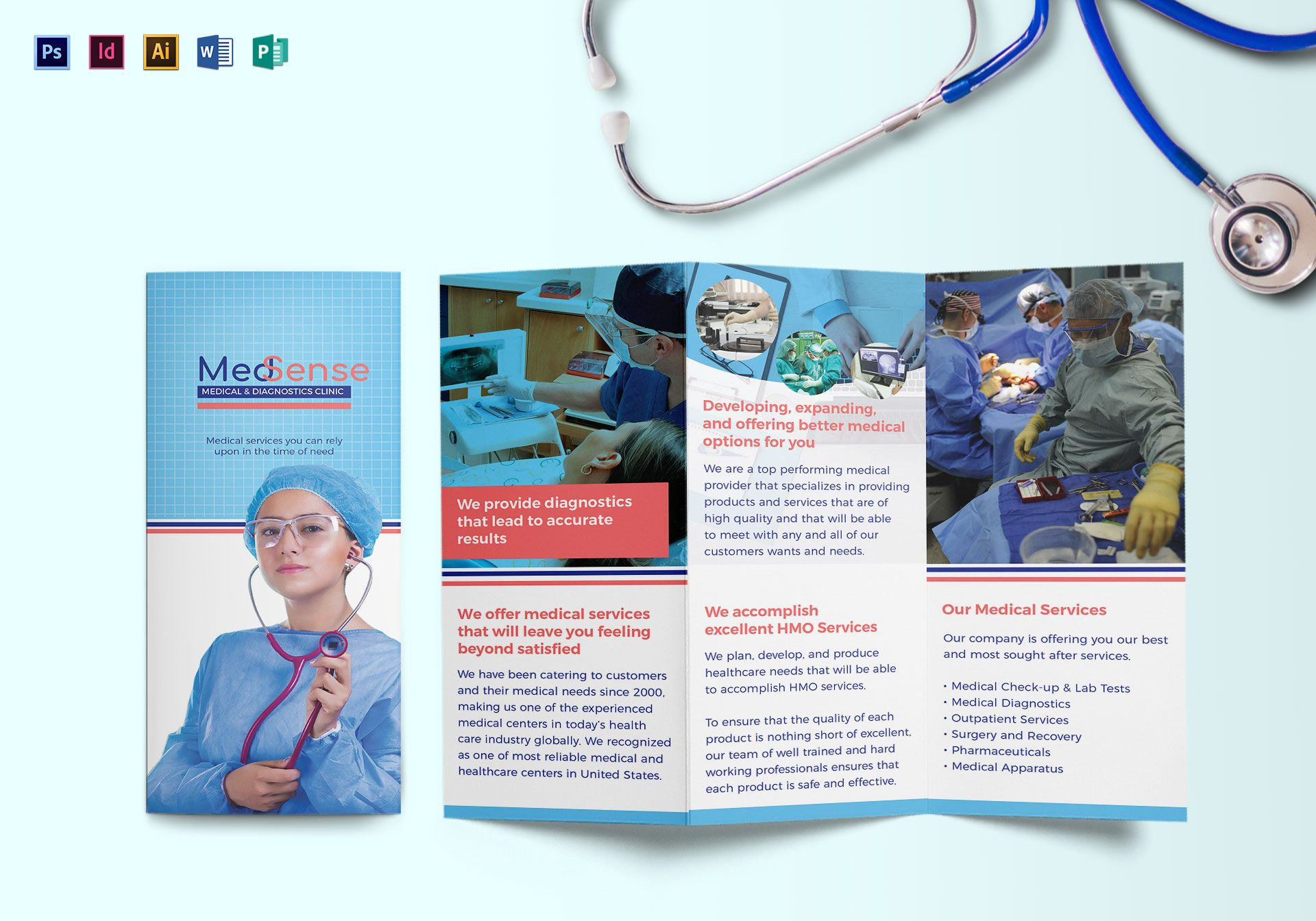 Tri fold medical brochure design template in psd word for Product brochure template word