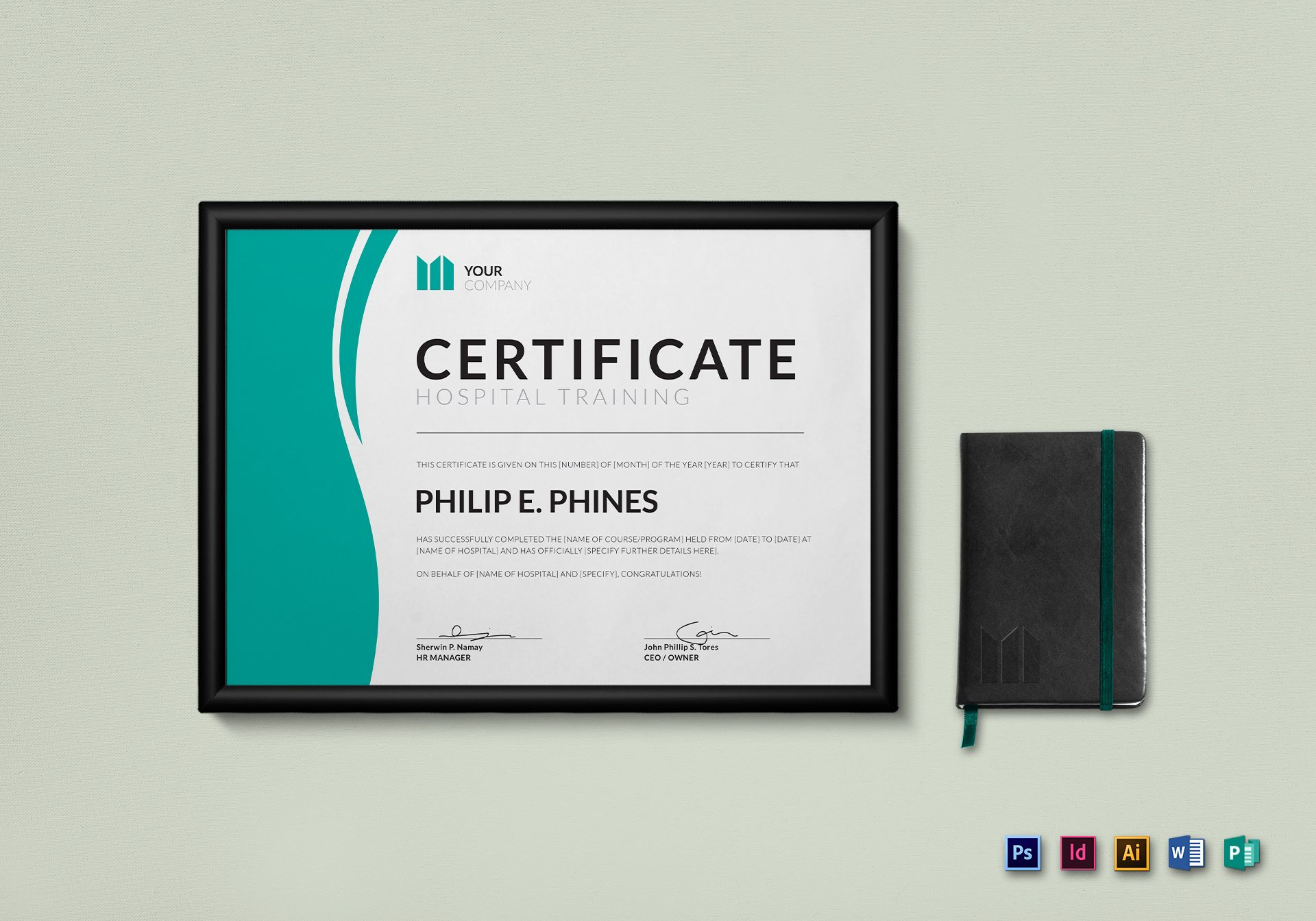 indesign certificate template - hospital training certificate design template in psd word