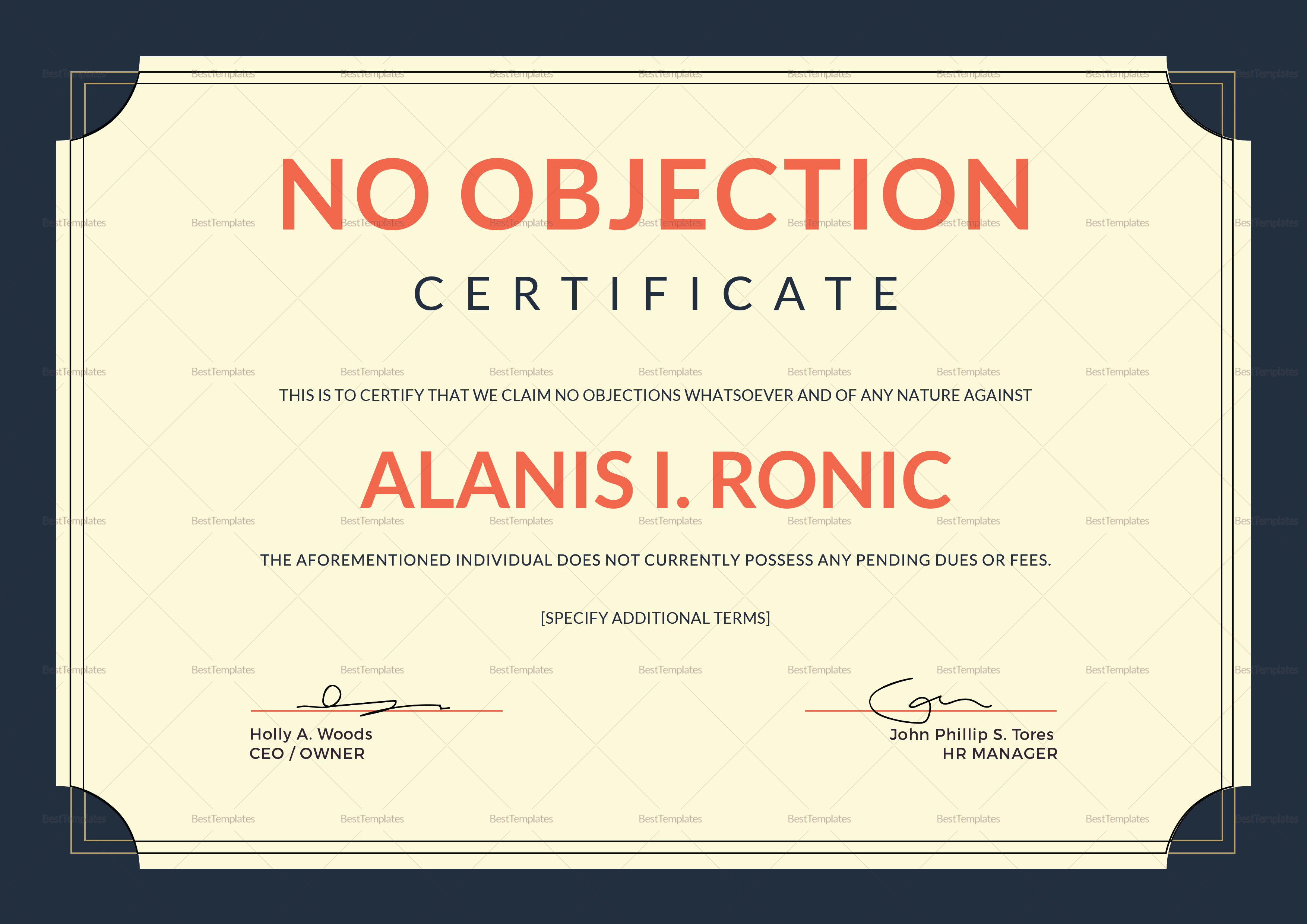 Employee No Objection Certificate