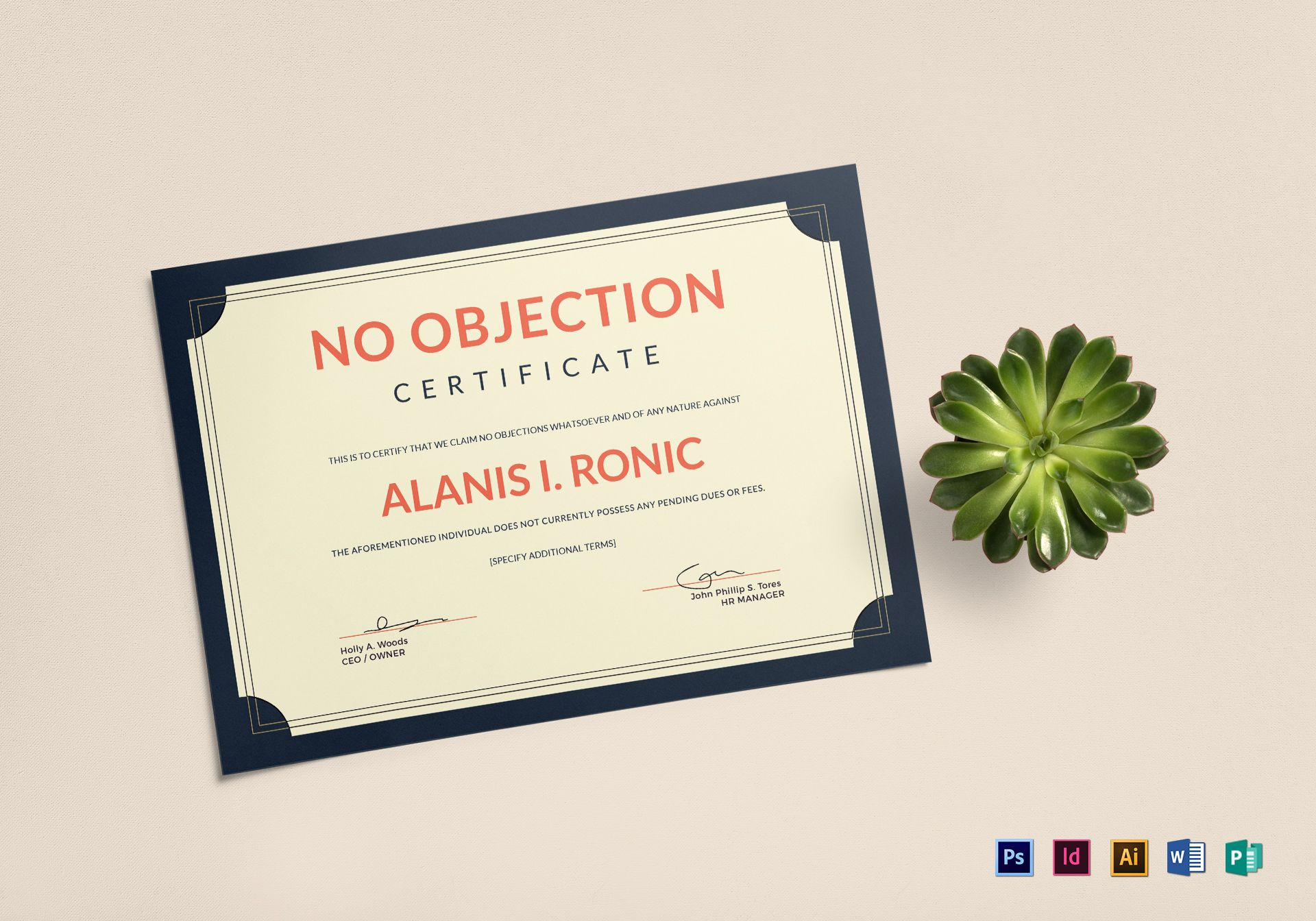 Employee no objection certificate design template in psd word employee no objection certificate template yelopaper Image collections