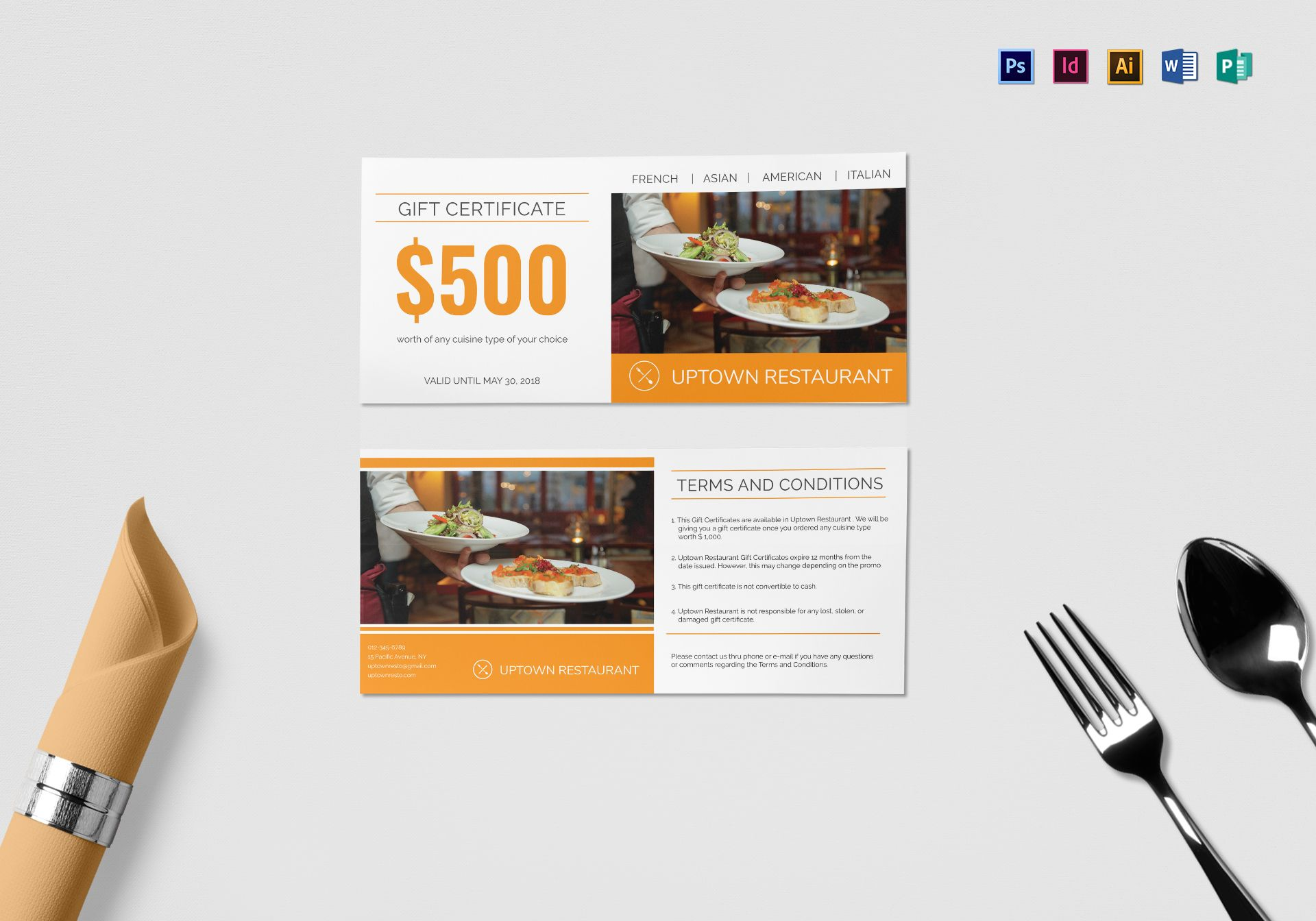 Restaurant Gift Certificate Design Template In Psd Word Publisher