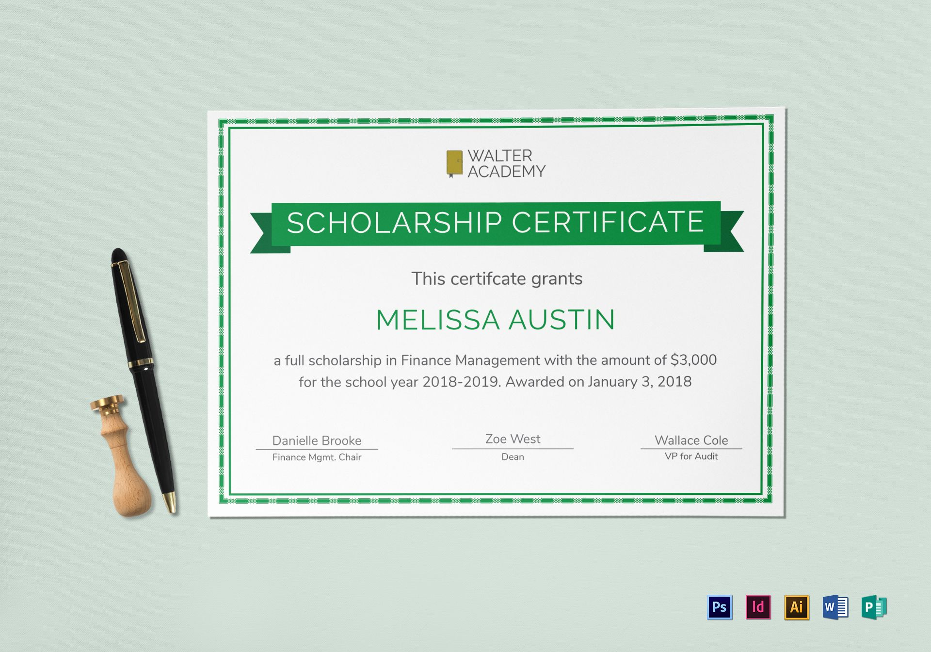 Scholarship certificate design template in psd word for Microsoft publisher award certificate templates