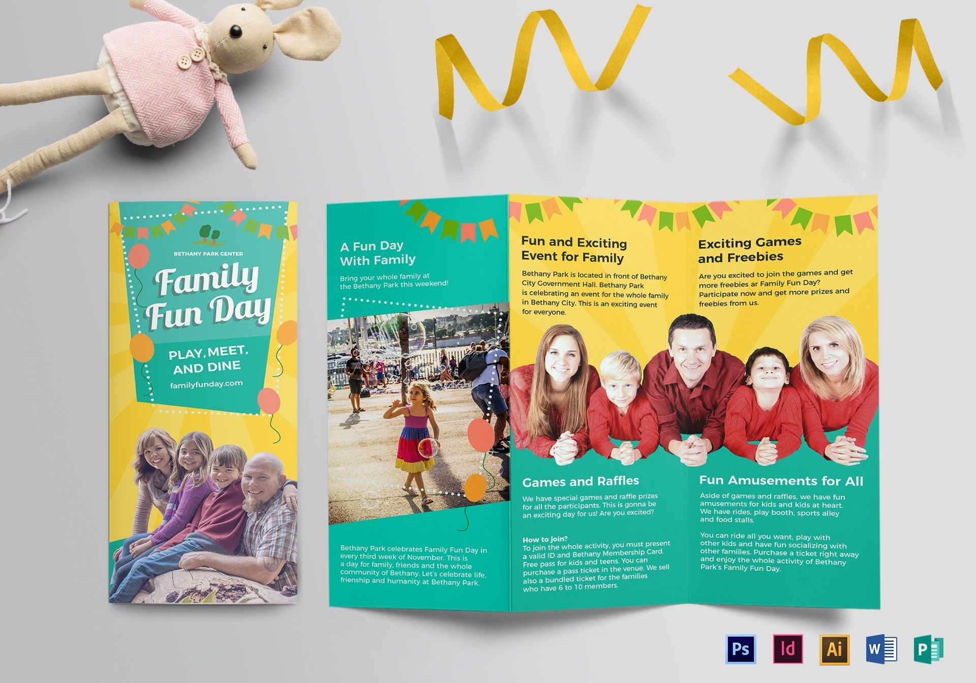 fun brochure templates family fun day tri fold brochure design template in psd