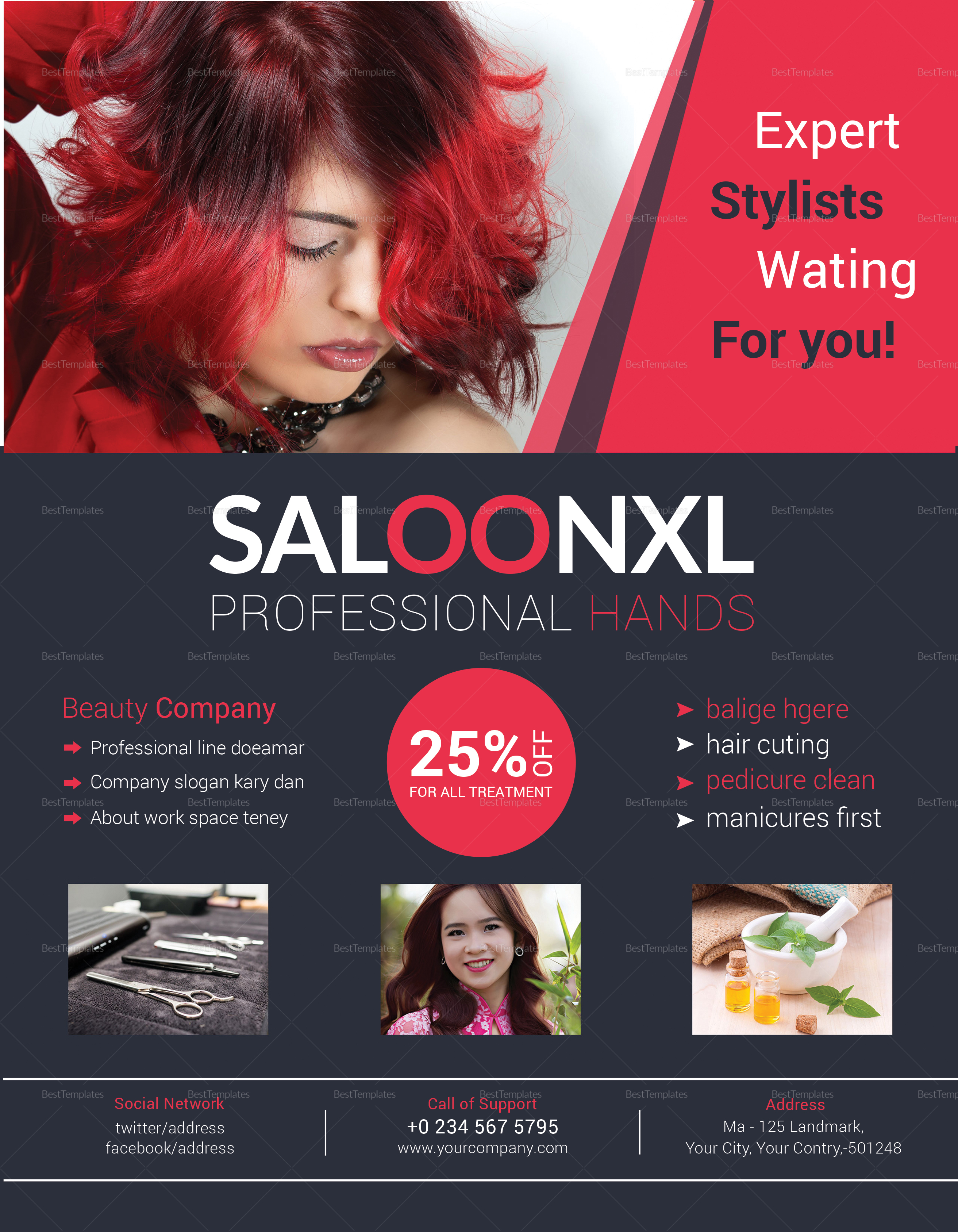 professional beauty salon flyer design template in word psd publisher