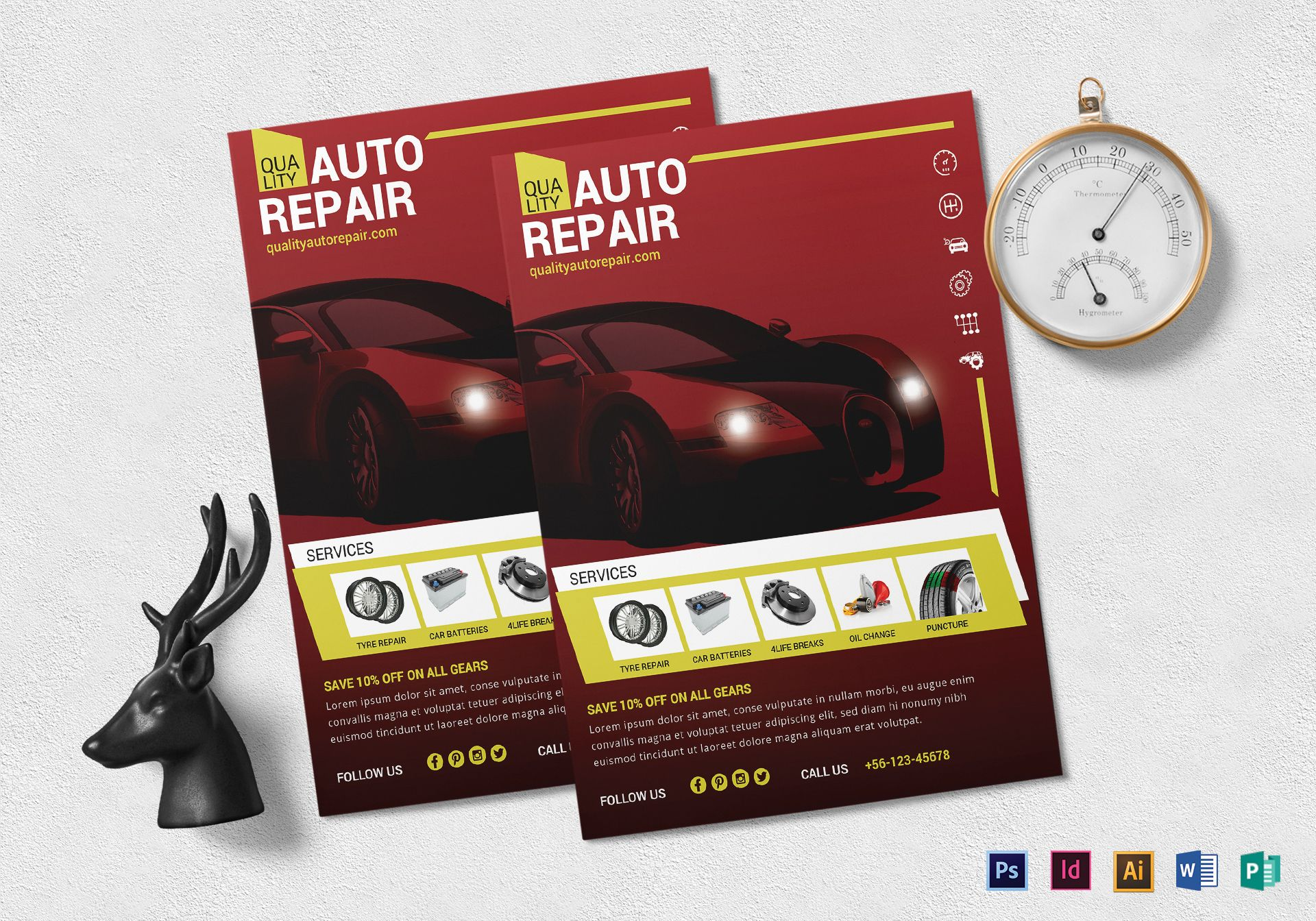auto repair flyer design template in psd word publisher