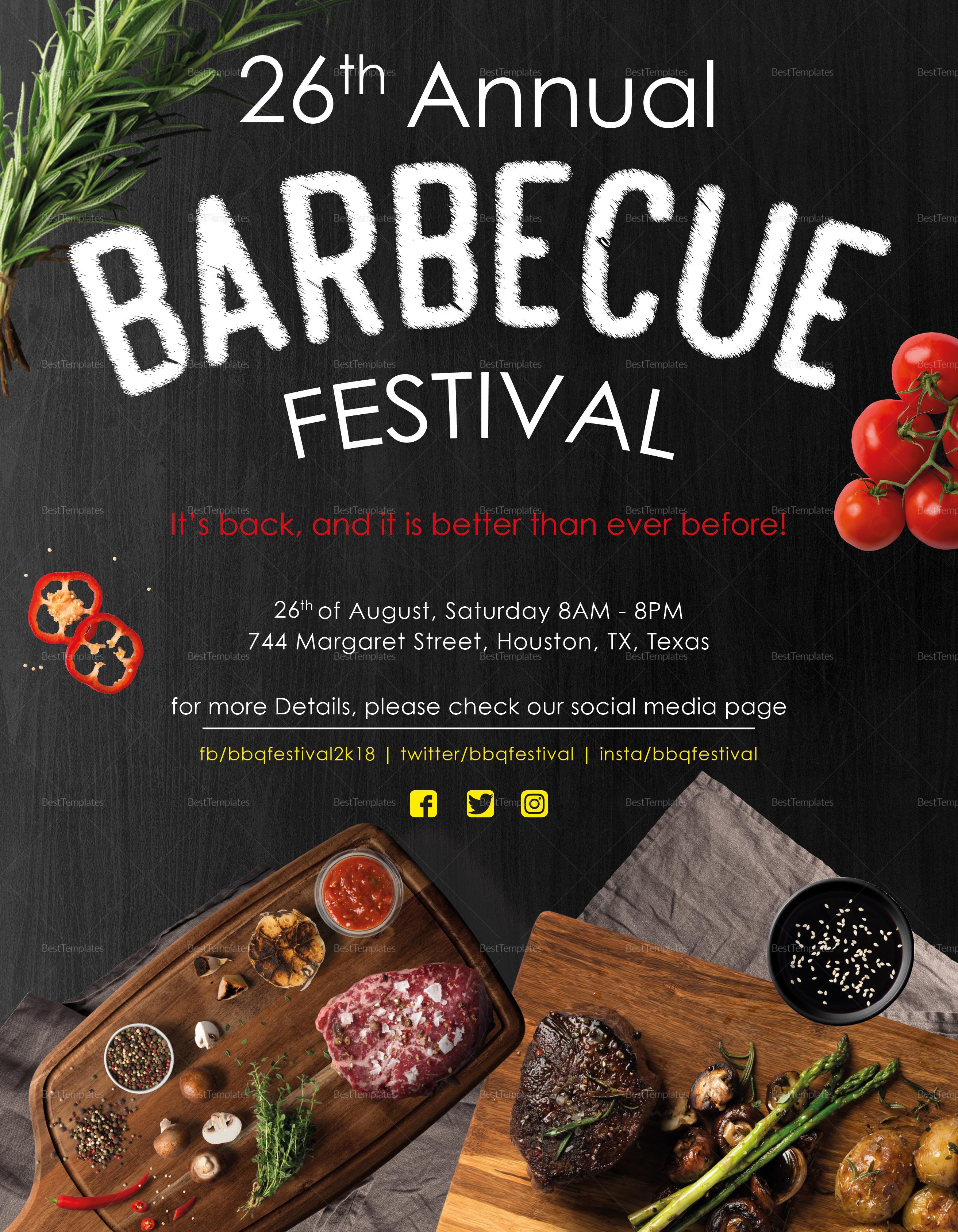 Sample Annual BBQ Festival Flyer Template