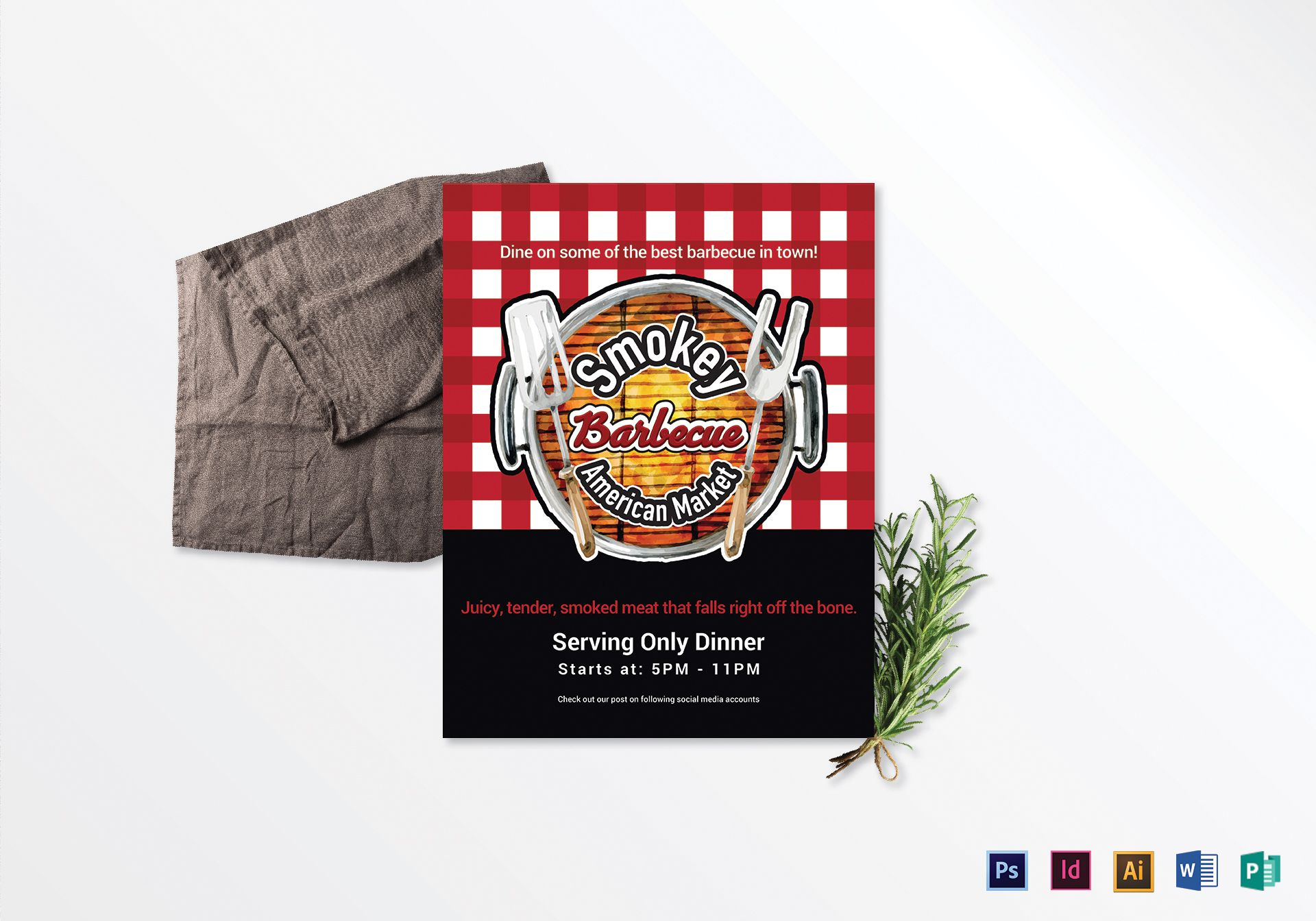 smokey barbecue dinner sale flyer design template in psd word