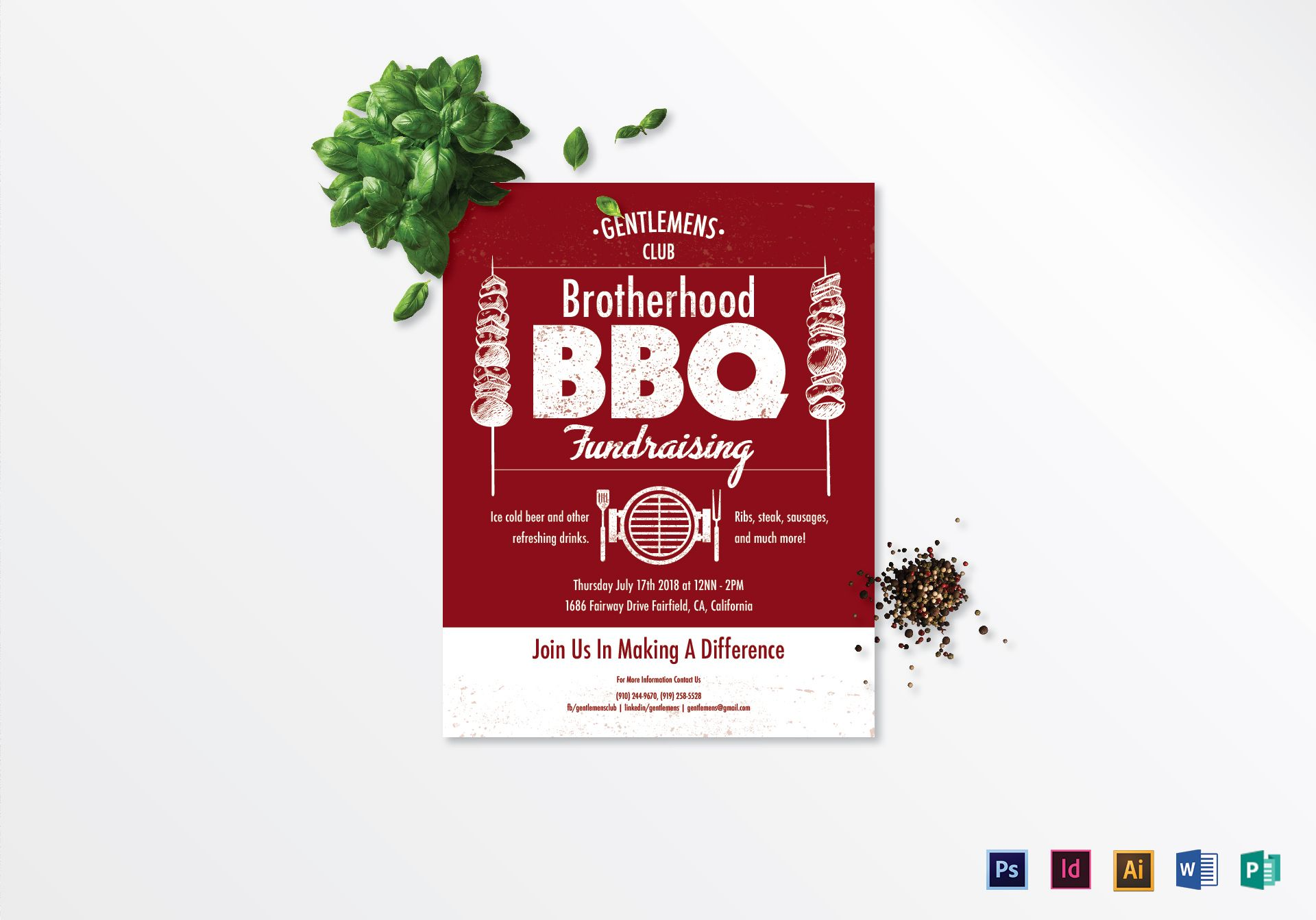 Barbecue Fundraising Flyer Design Template In PSD Word Publisher - Fundraiser flyer template word