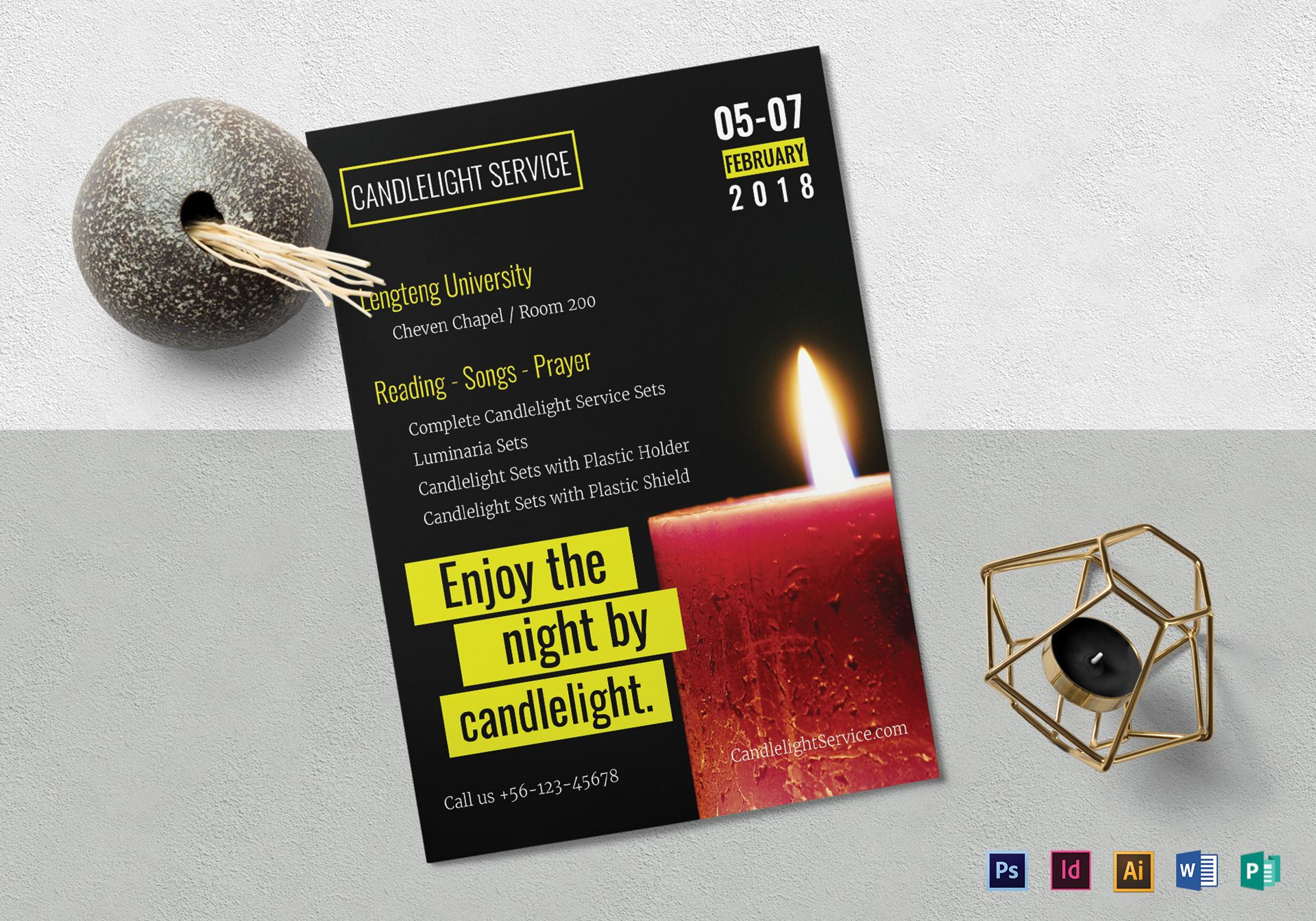 Candlelight Service Flyer Template