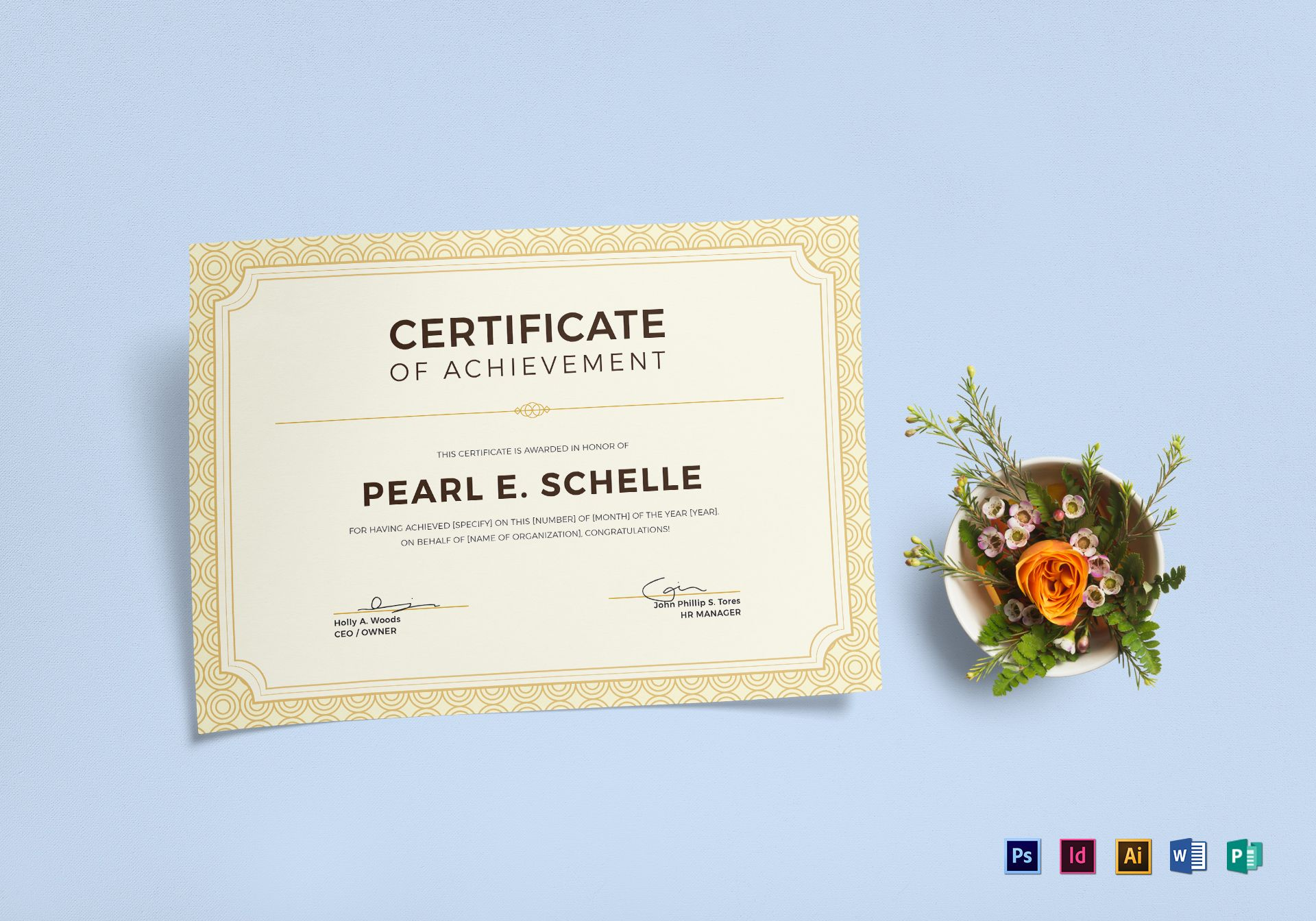 Professional certificate of achievement design template in psd professional certificate of achievement template yelopaper Gallery