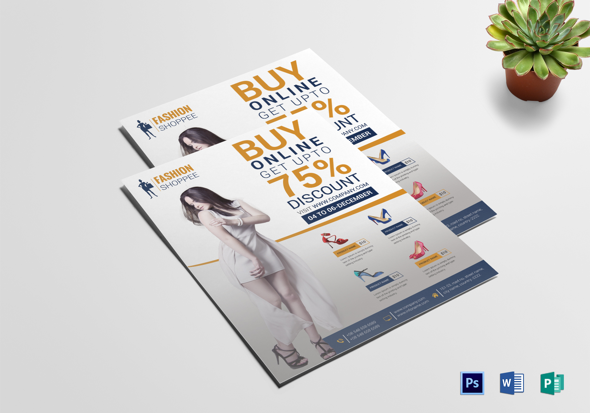 Fashion Promotional Flyer Design Template In Psd Word Publisher