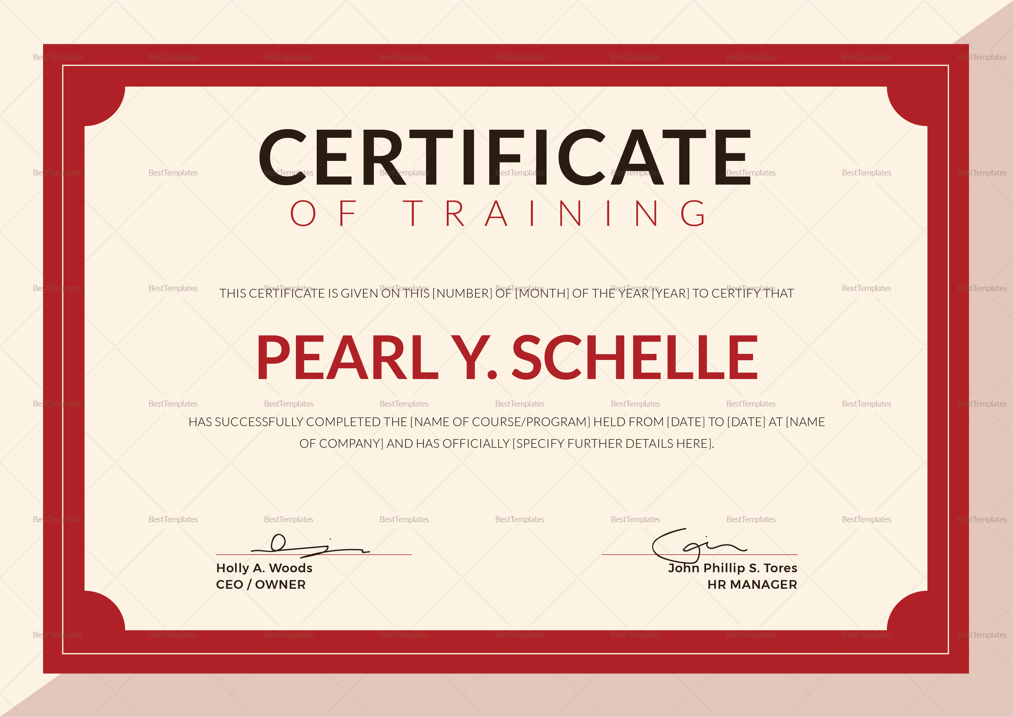 Training certificate design template in psd word for Publisher certificate template