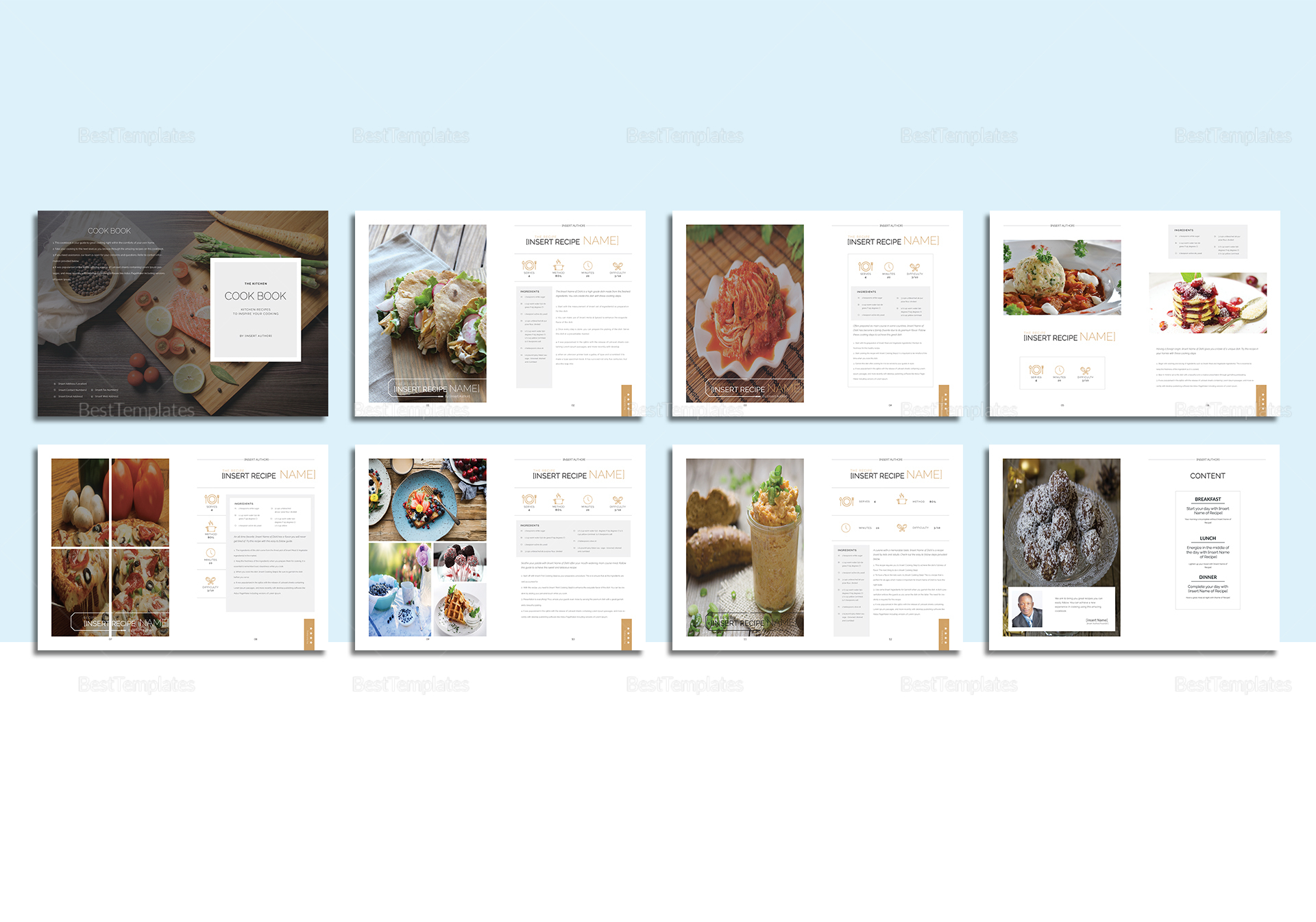 Recipe cookbook catalog template in psd word publisher for Free catalog templates for publisher