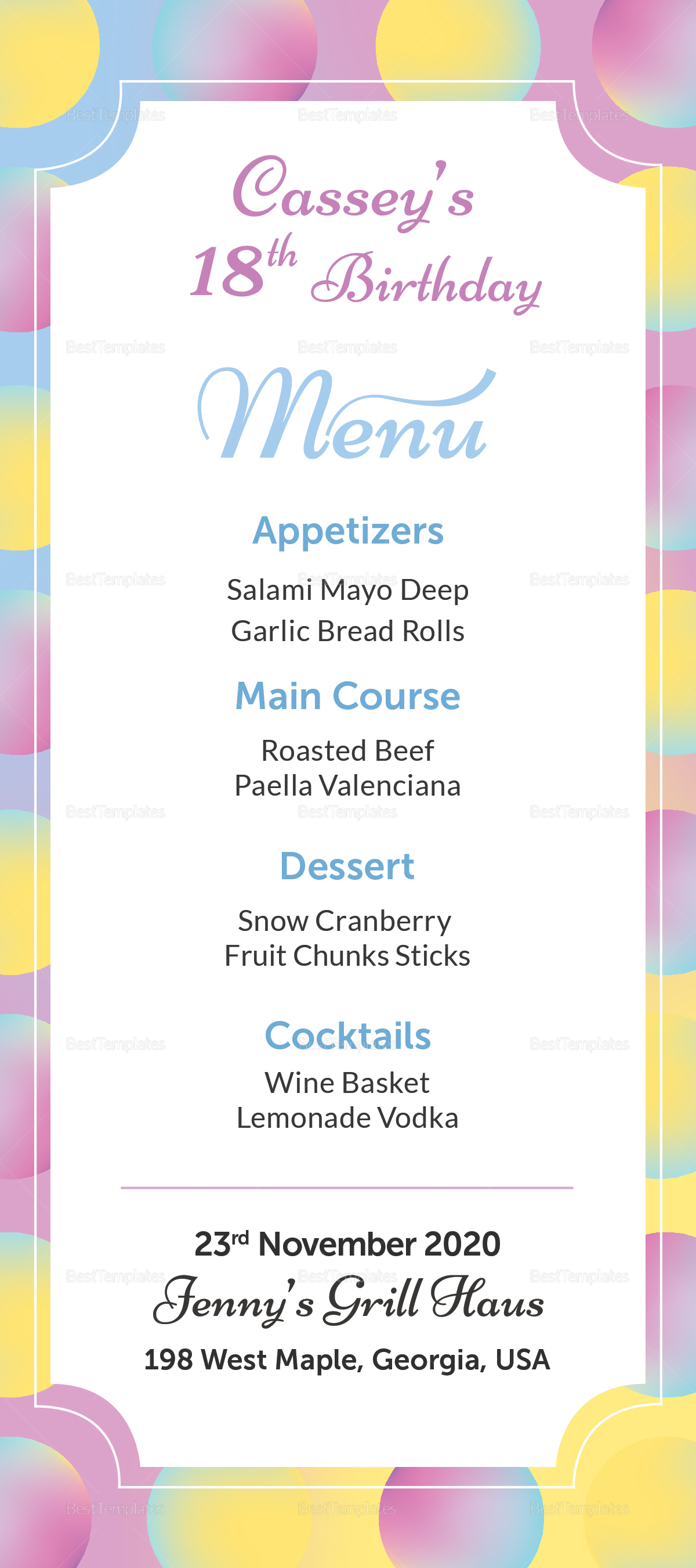 birthday dinner menu design template in psd word publisher