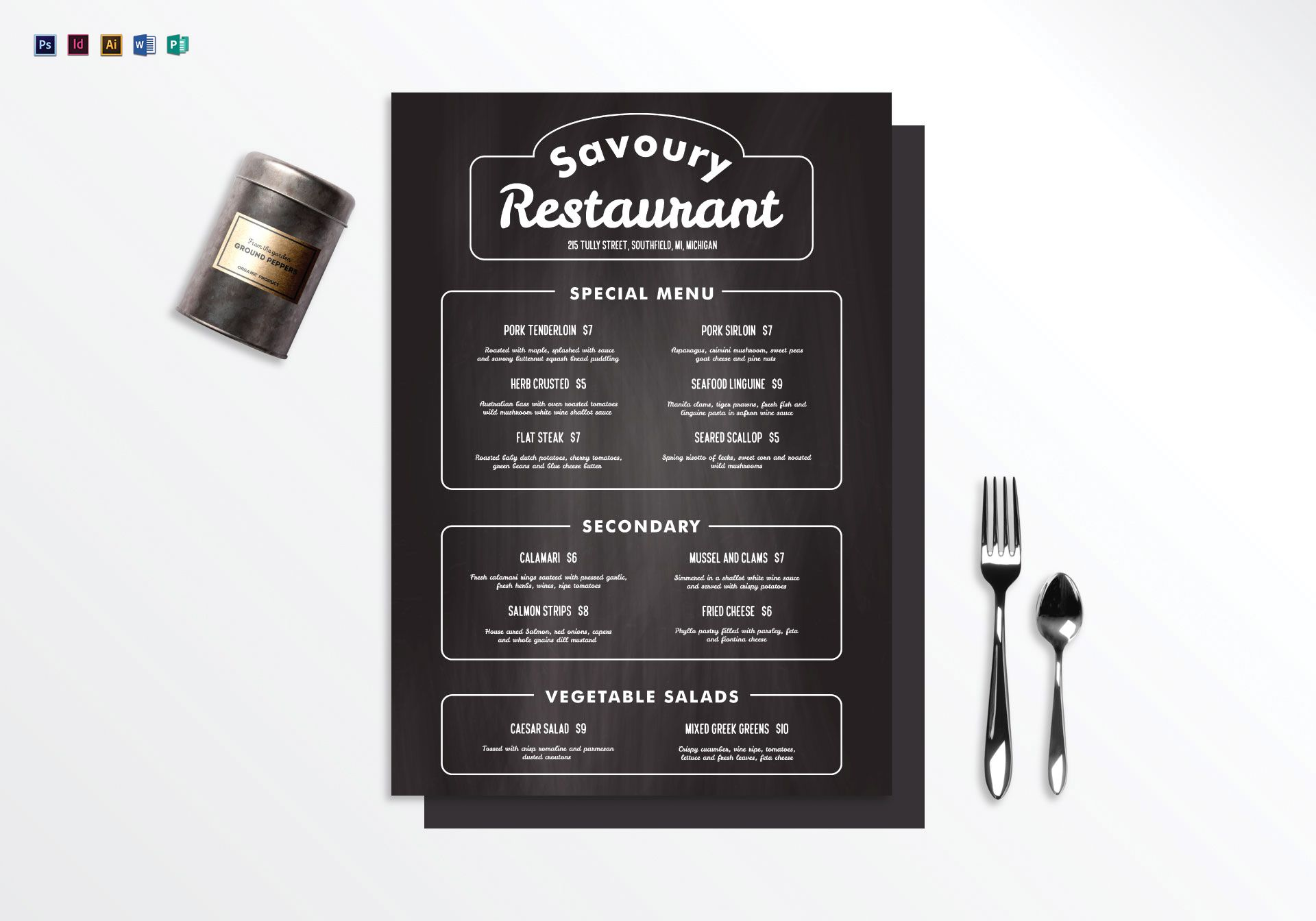 Chalkboard restaurant menu design template in psd word for Microsoft publisher menu templates free