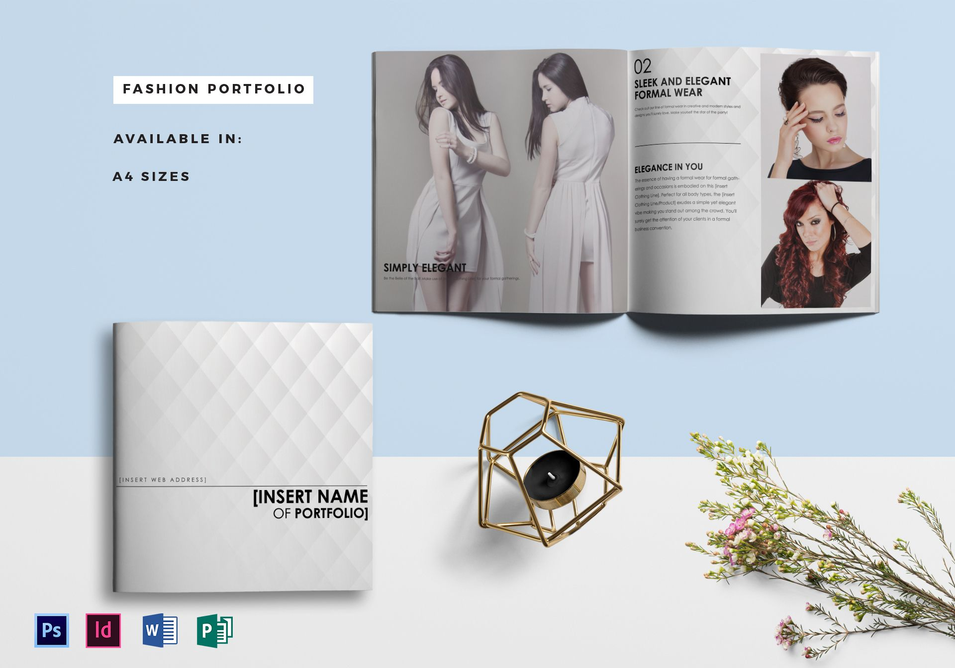 Fashion portfolio catalog template in psd word publisher for Microsoft word catalog template