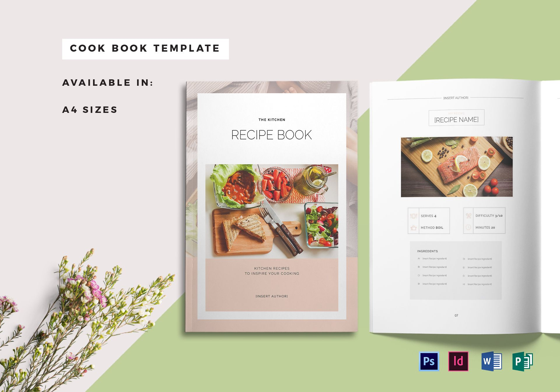 Recipe book cover template in psd word publisher indesign for Free online cookbook template