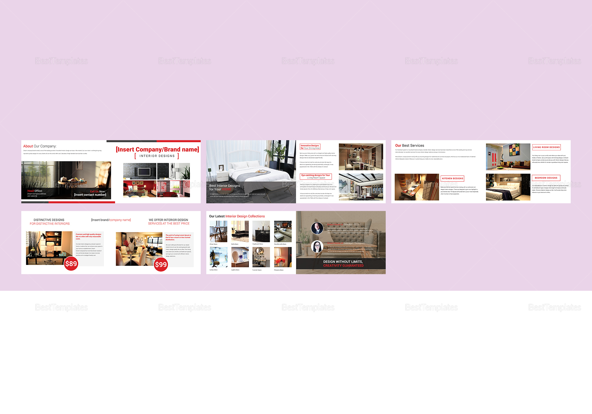Sample Interior Design Catalog Template