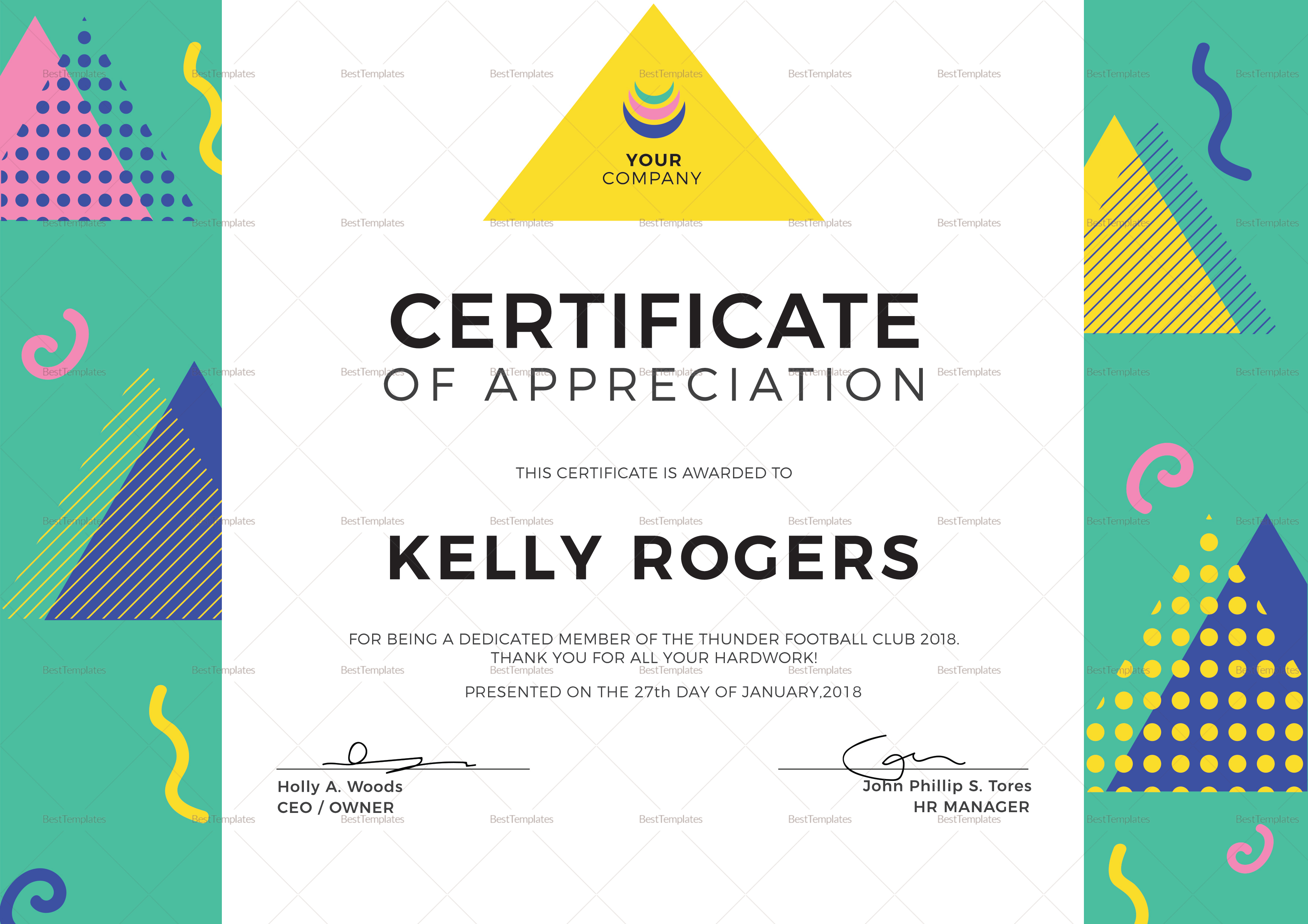 Sample Big Triangle Certificate