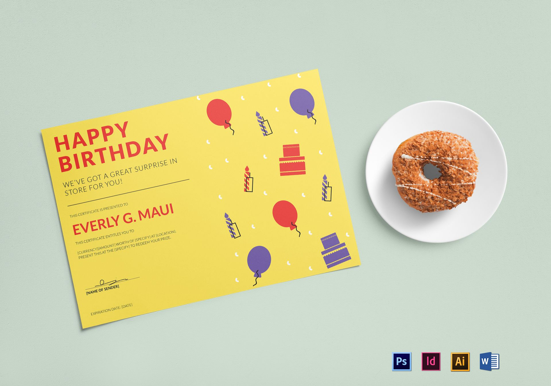 Birthday Gift Certificate Design Template In Psd Word Illustrator