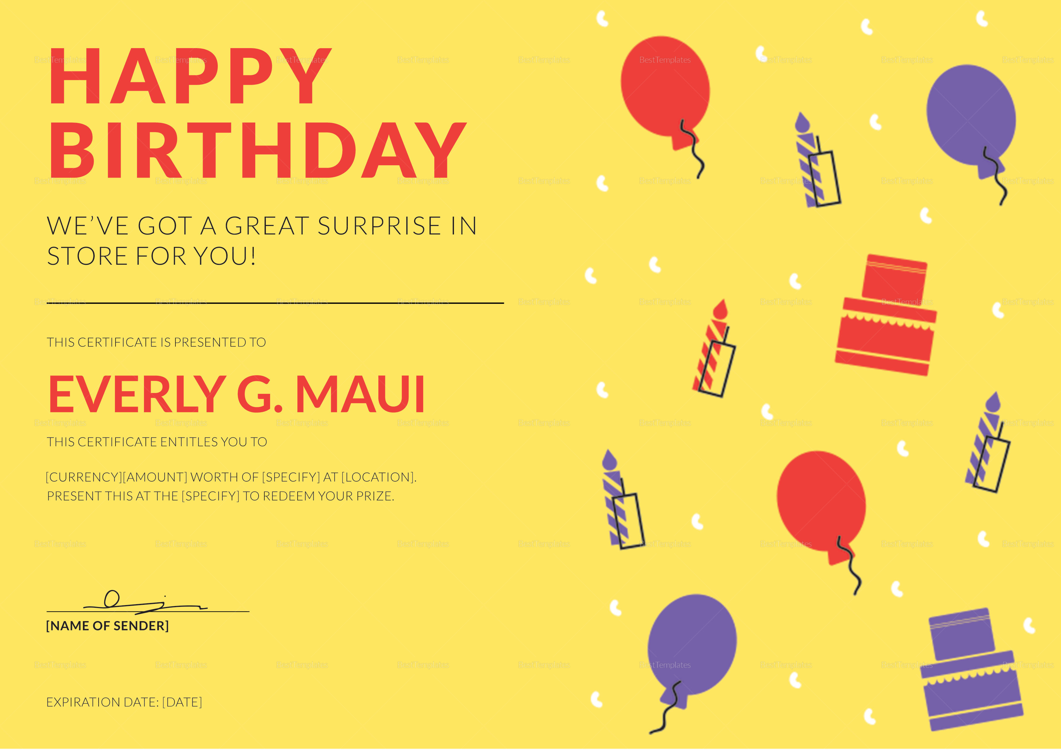 Birthday Gift Certificate Template Sample