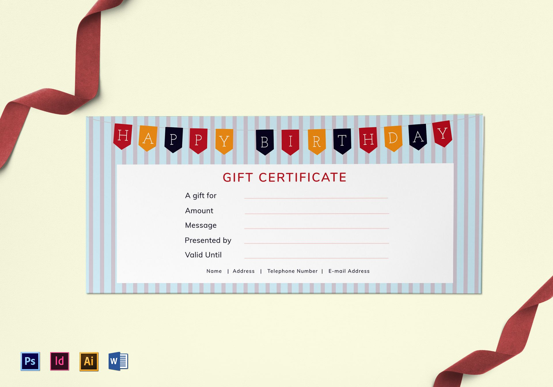 birthday cheque template - happy birthday gift certificate design template in psd