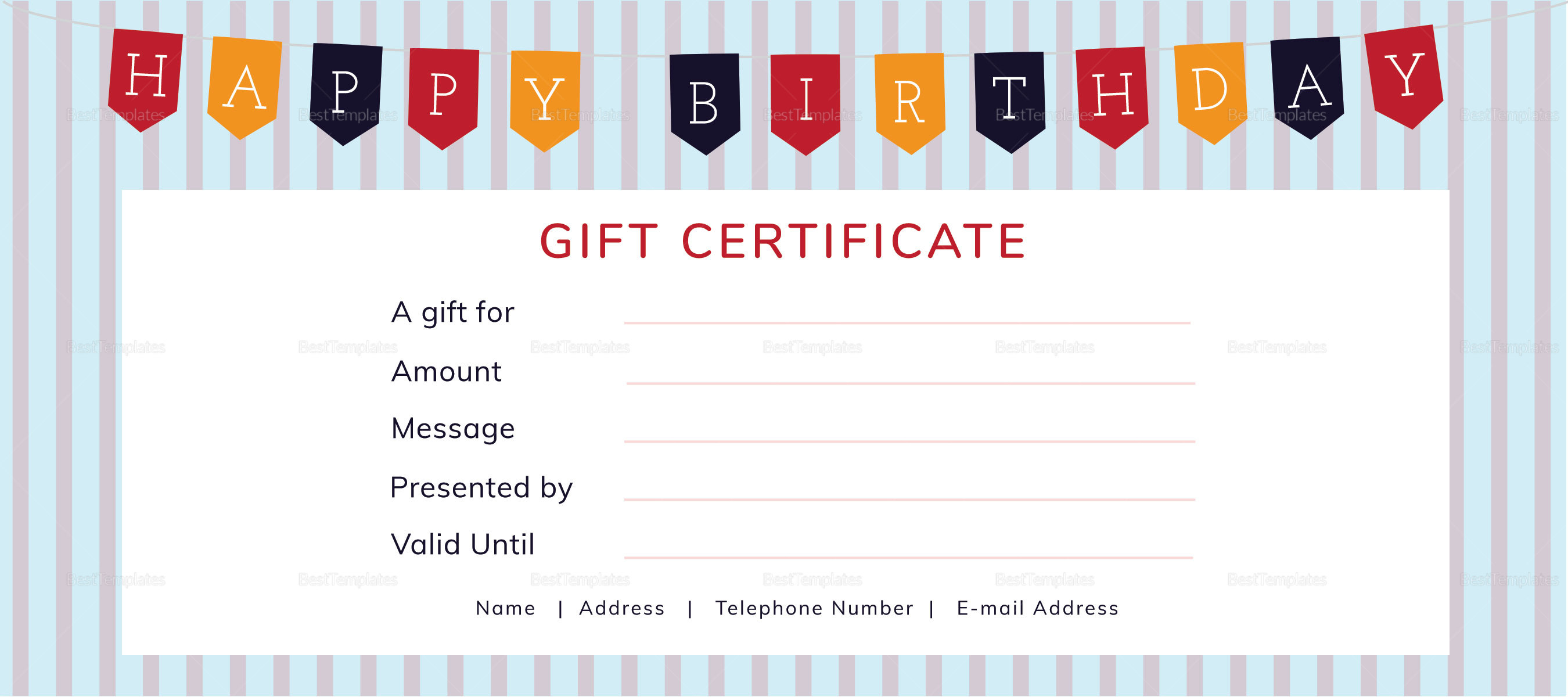 Happy Birthday Gift Certificate Template