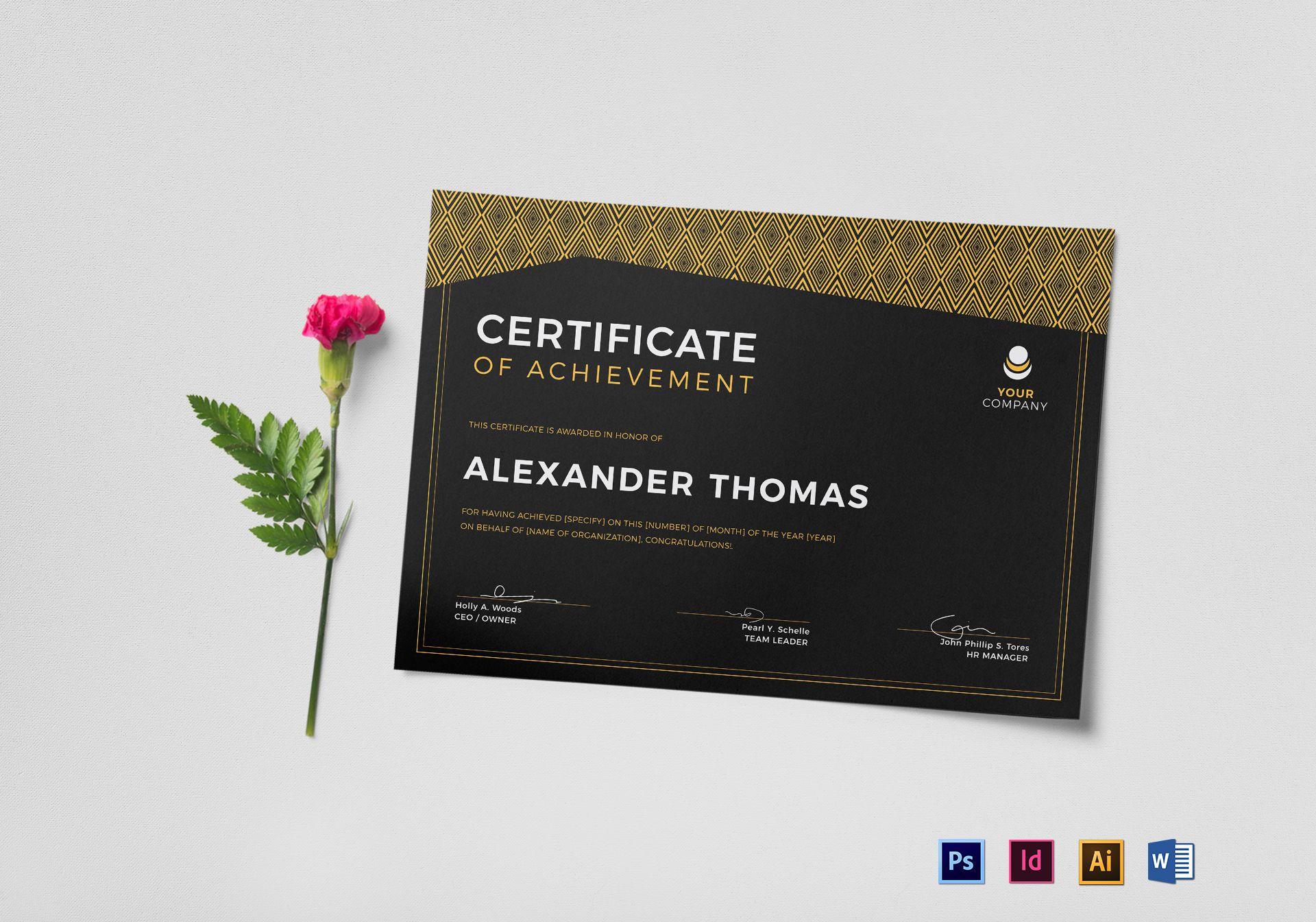 Black Achievement Certificate Template