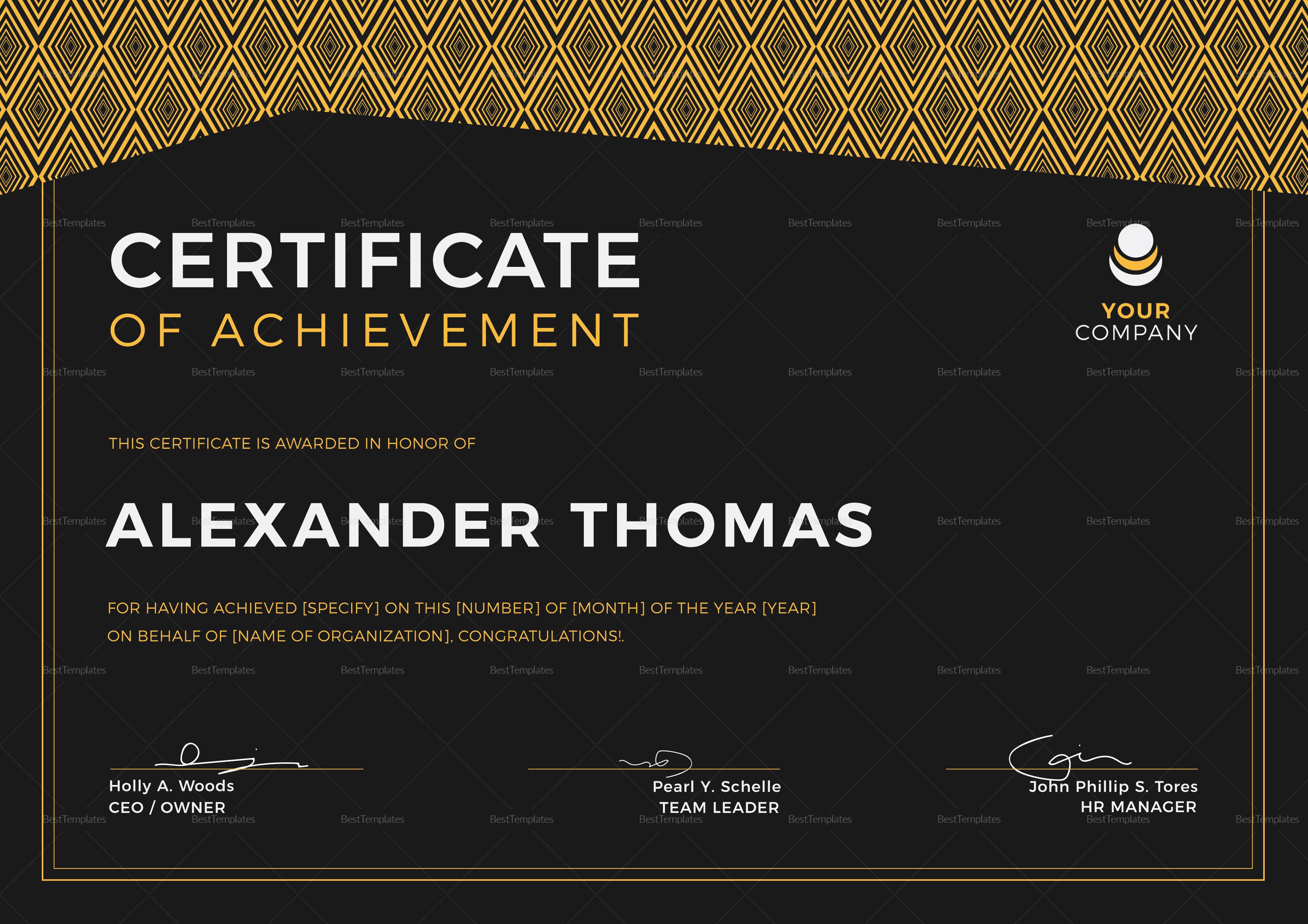 Black Achievement Certificate