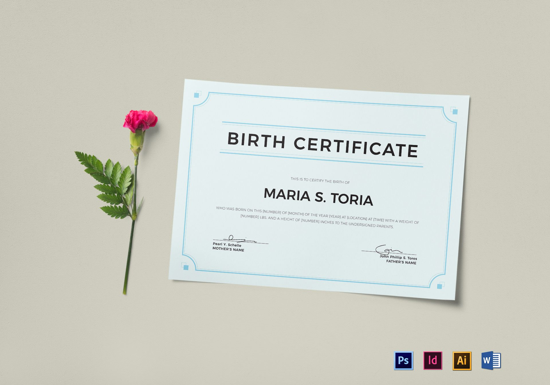 Blank Birth Certificate Design Template In Psd Word Illustrator