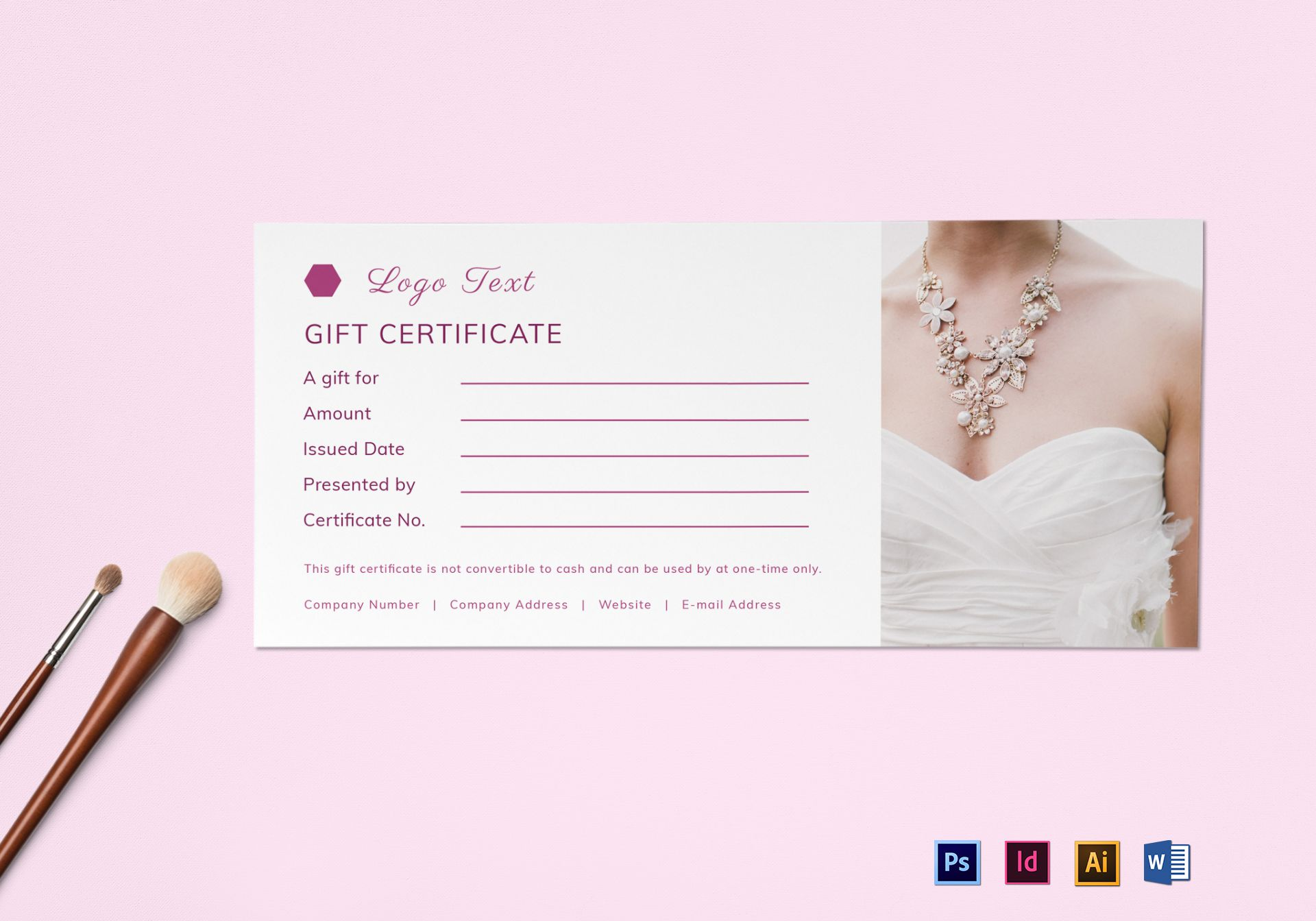 Blank Gift Certificate Design Template In Psd Word Illustrator